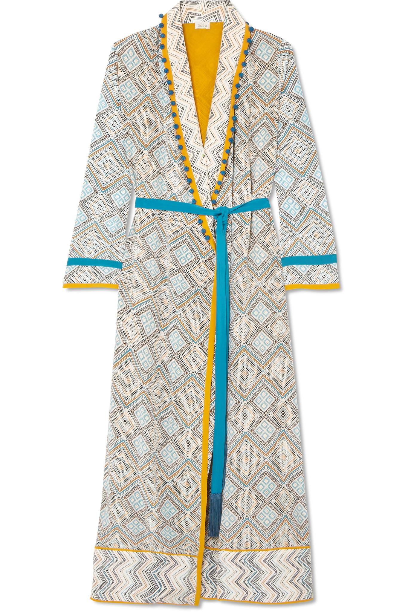 198f9978c2 Talitha. Women s White Maghreb Pompom-embellished Printed Silk Crepe De  Chine Robe