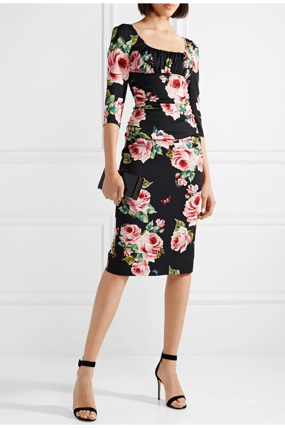 Cheap Visit Ruched Printed Stretch-Silk Midi Dress Dolce & Gabbana Pay With Visa Cheap Online Finishline Cheap Price nQyY0fl0