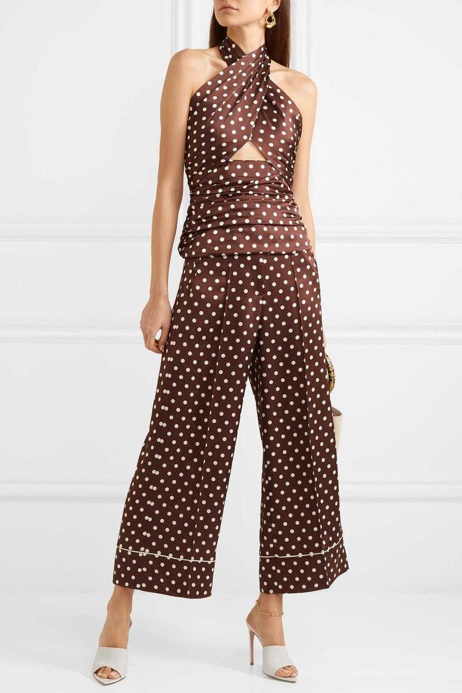 Desert Cropped Polka-dot Silk-satin Wide-leg Pants - Brown Racil NRLUQ