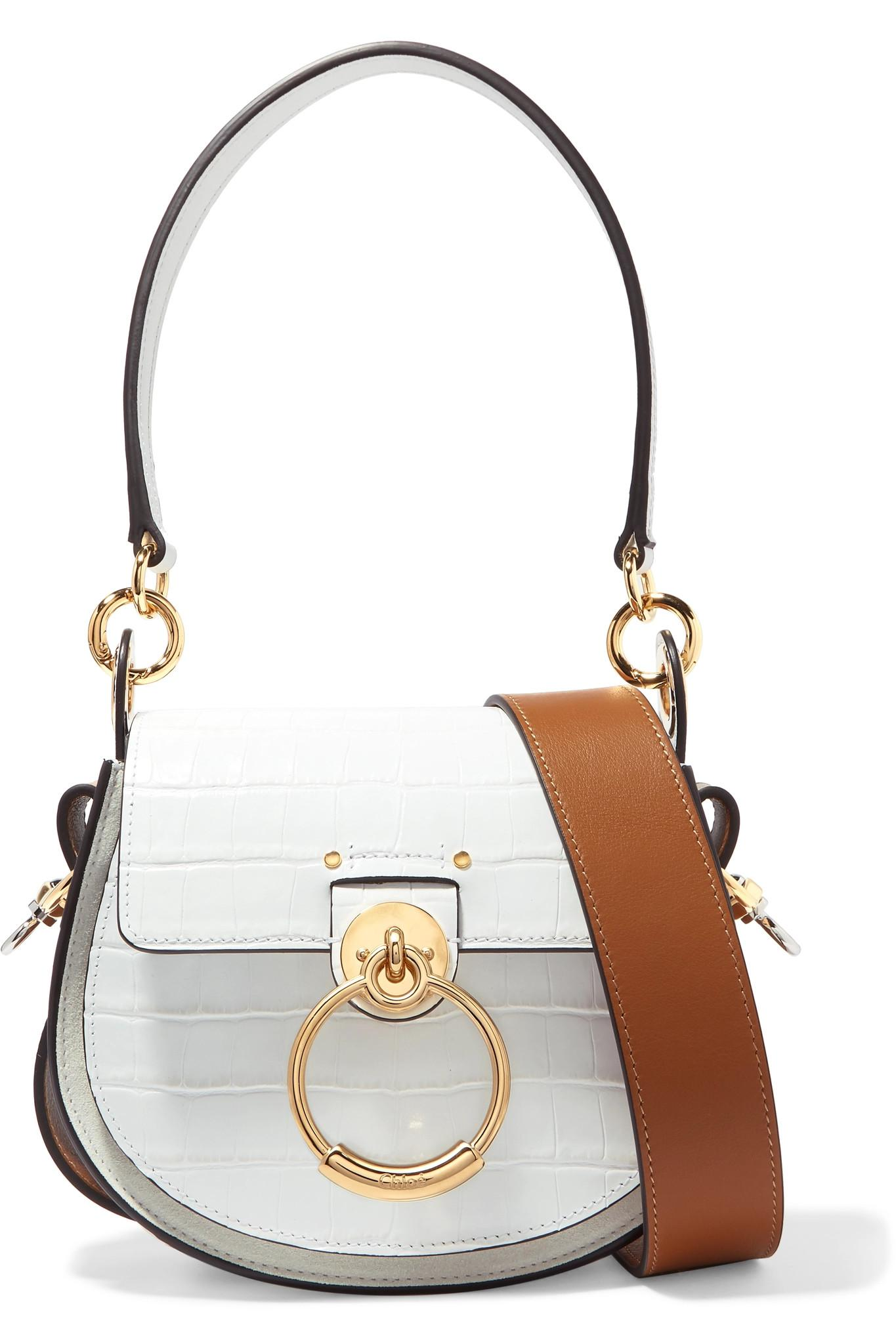 5c7bafcc64c9 Chloé Tess Small Croc-effect Leather And Suede Shoulder Bag in White ...