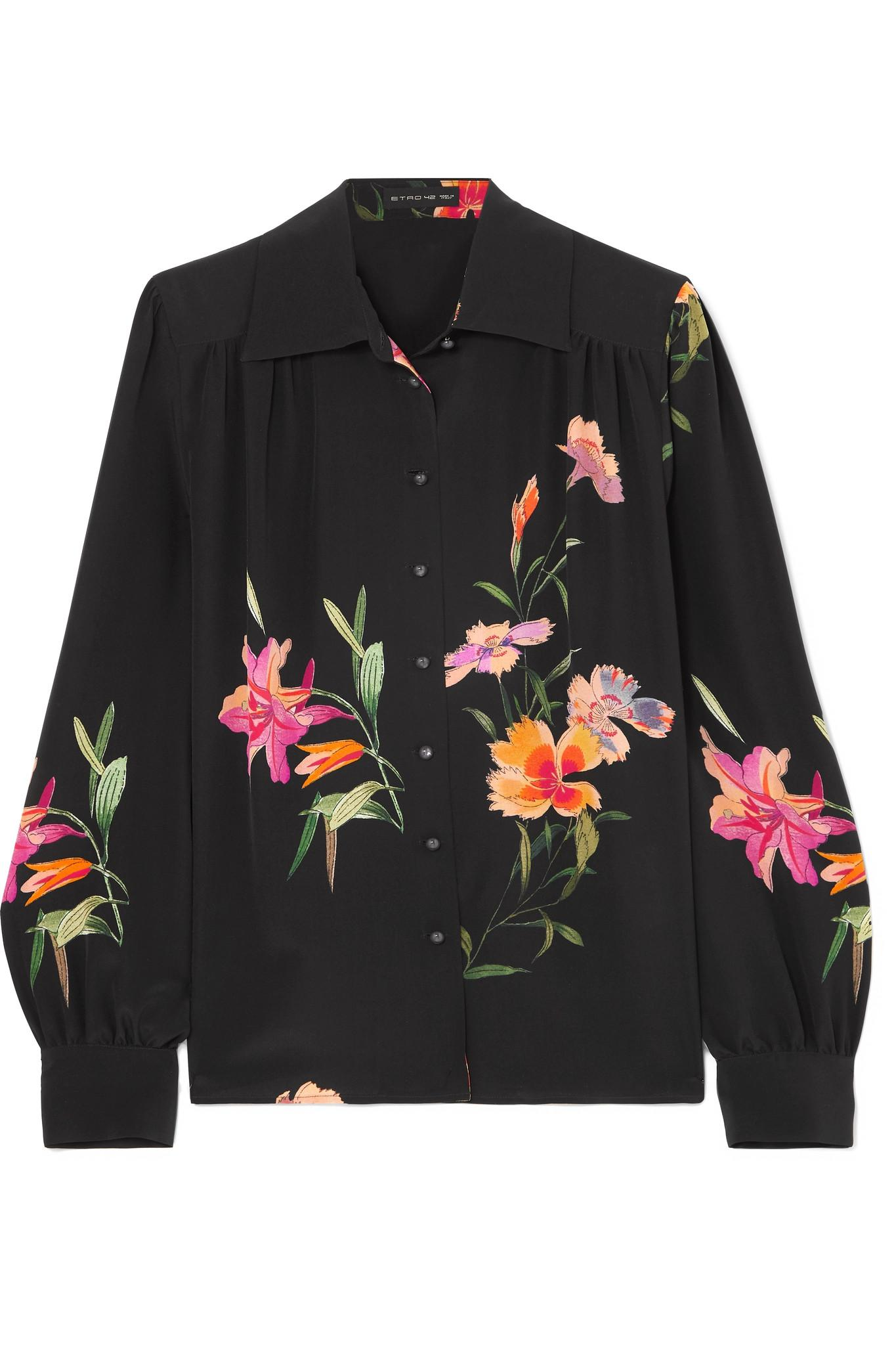 423b9558dfd6a Lyst - Etro Floral-print Silk-crepe Shirt in Black