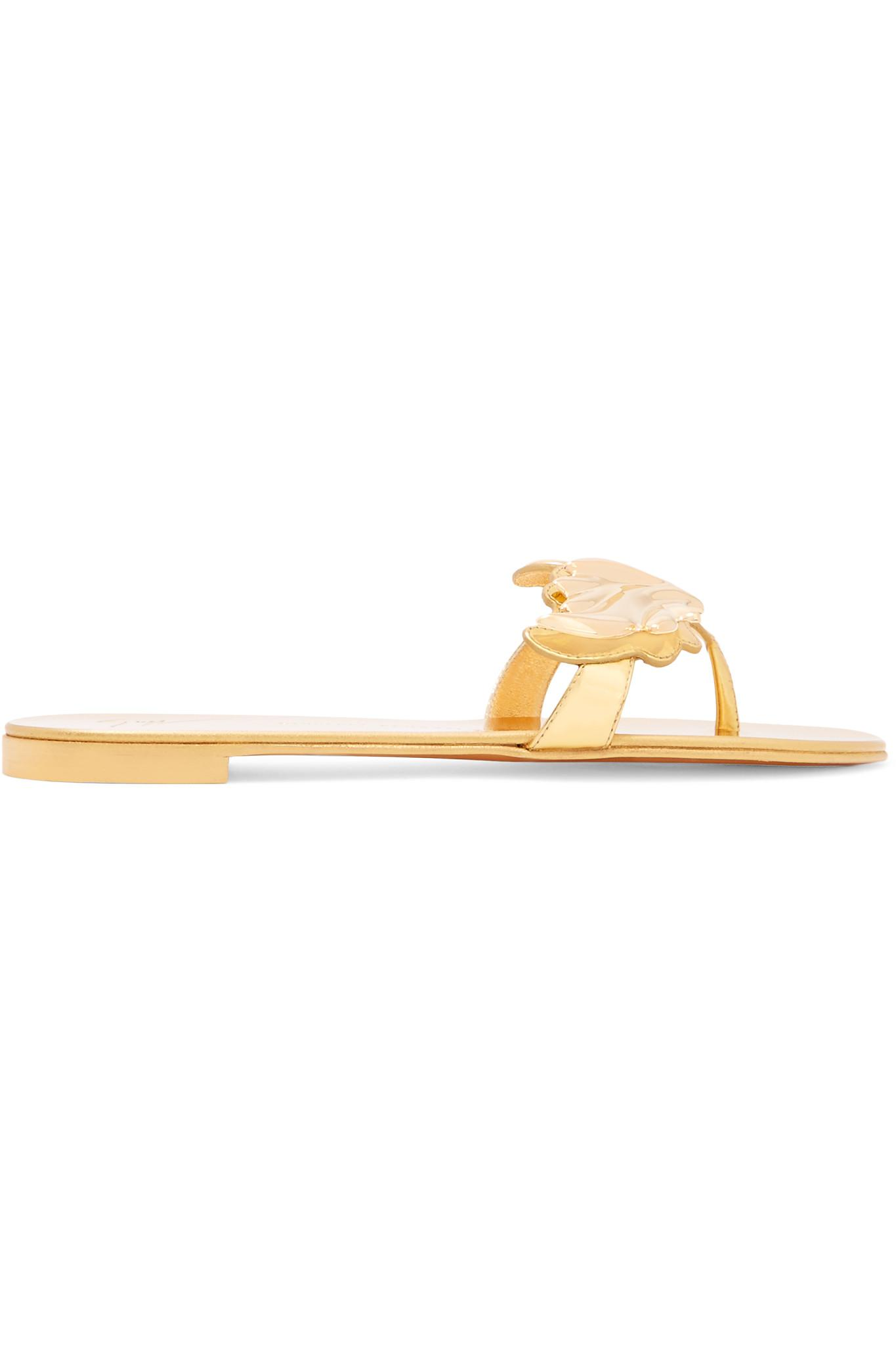cbf82bc55f4993 Giuseppe Zanotti Embellished Metallic Patent-leather Sandals in ...