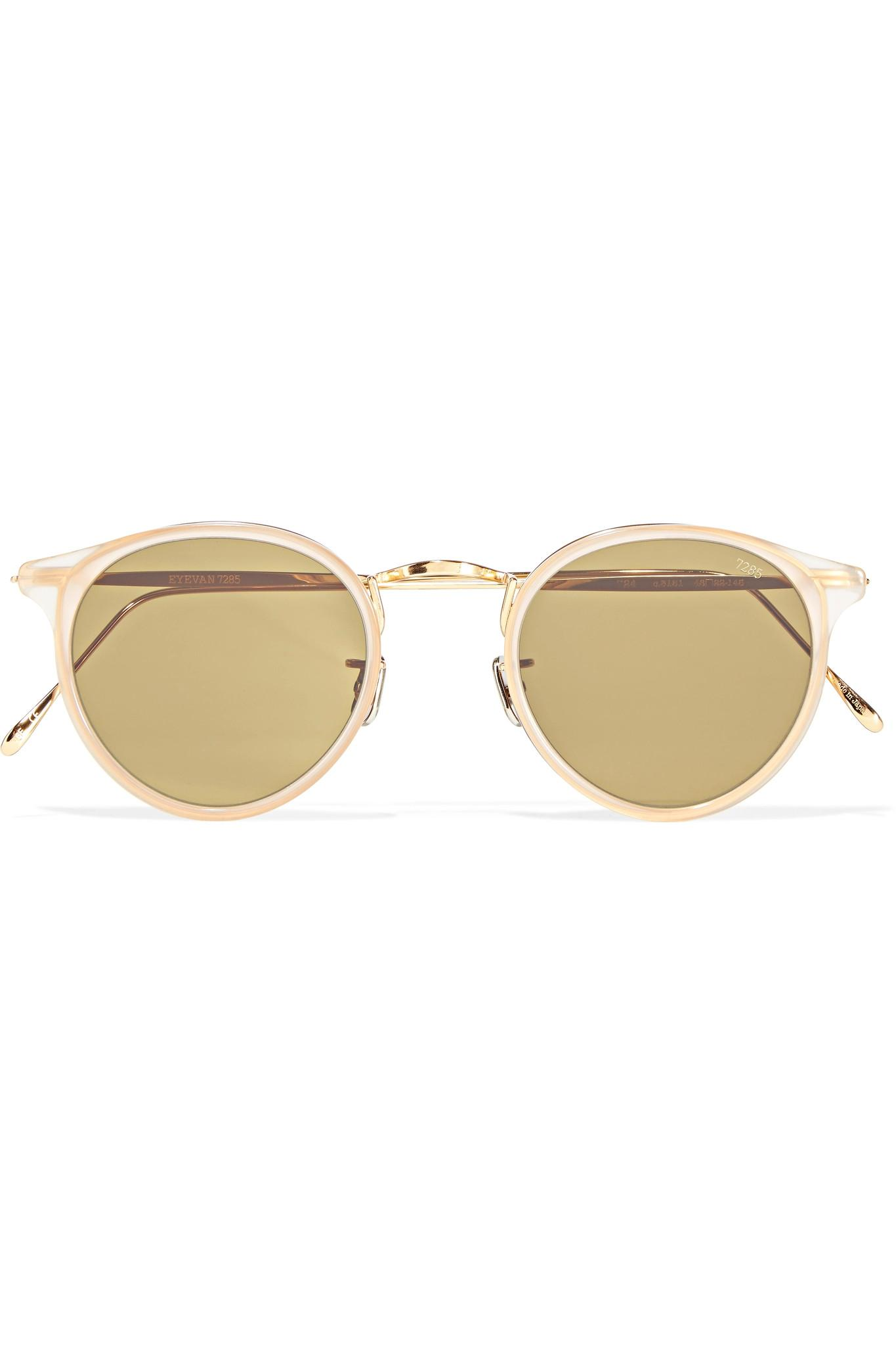 4fb3a4c202 Lyst - Eyevan 7285 Round-frame Acetate And Gold-tone Sunglasses in ...