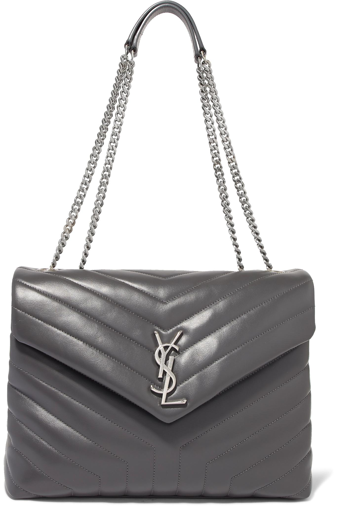 Loulou Medium Quilted Leather Shoulder Bag - Gray Saint Laurent WqUo02gvR