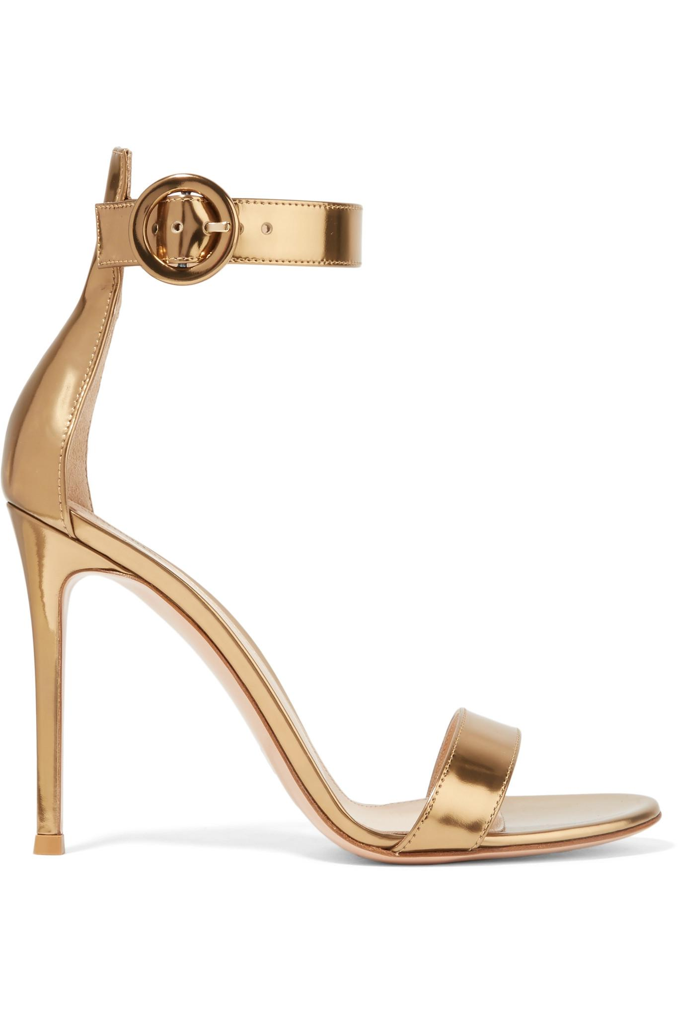 1117217516d2 Lyst - Gianvito Rossi Portofino 105 Metallic Leather Sandals in ...
