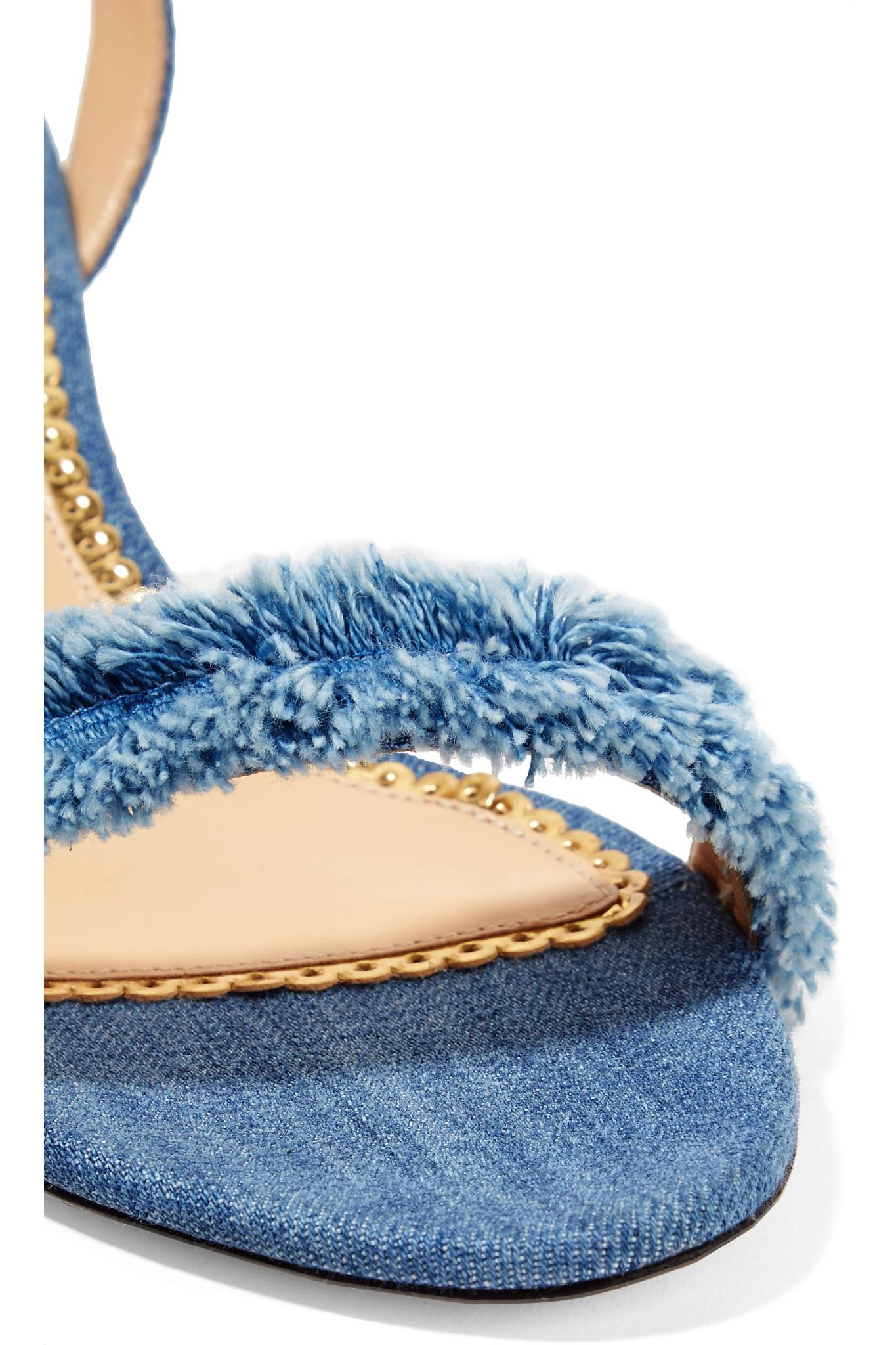 682ce0a3205479 Lyst - Charlotte Olympia Tara Frayed Denim Sandals in Blue