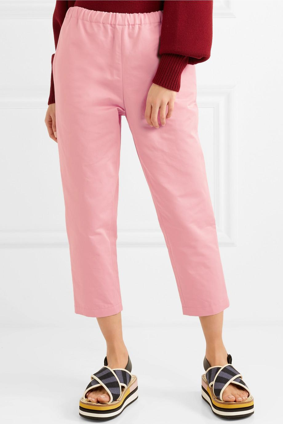 Cropped Cotton And Linen-blend Twill Straight-leg Pants - Pink Marni zD2yw