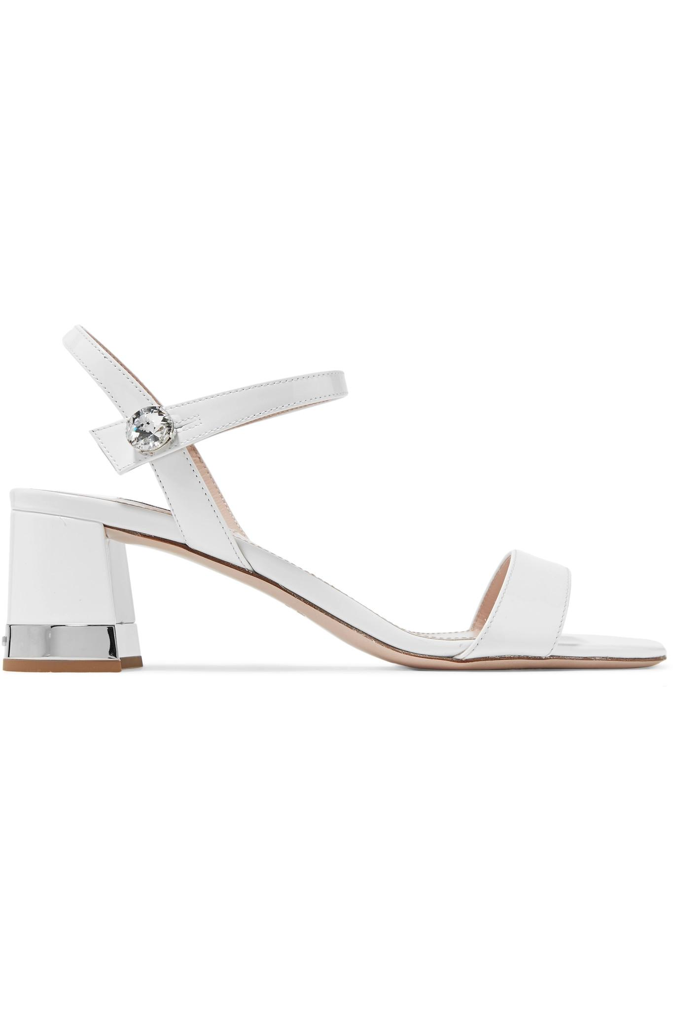 55b191f0971 Lyst - Miu Miu Crystal-embellished Patent-leather Sandals in White