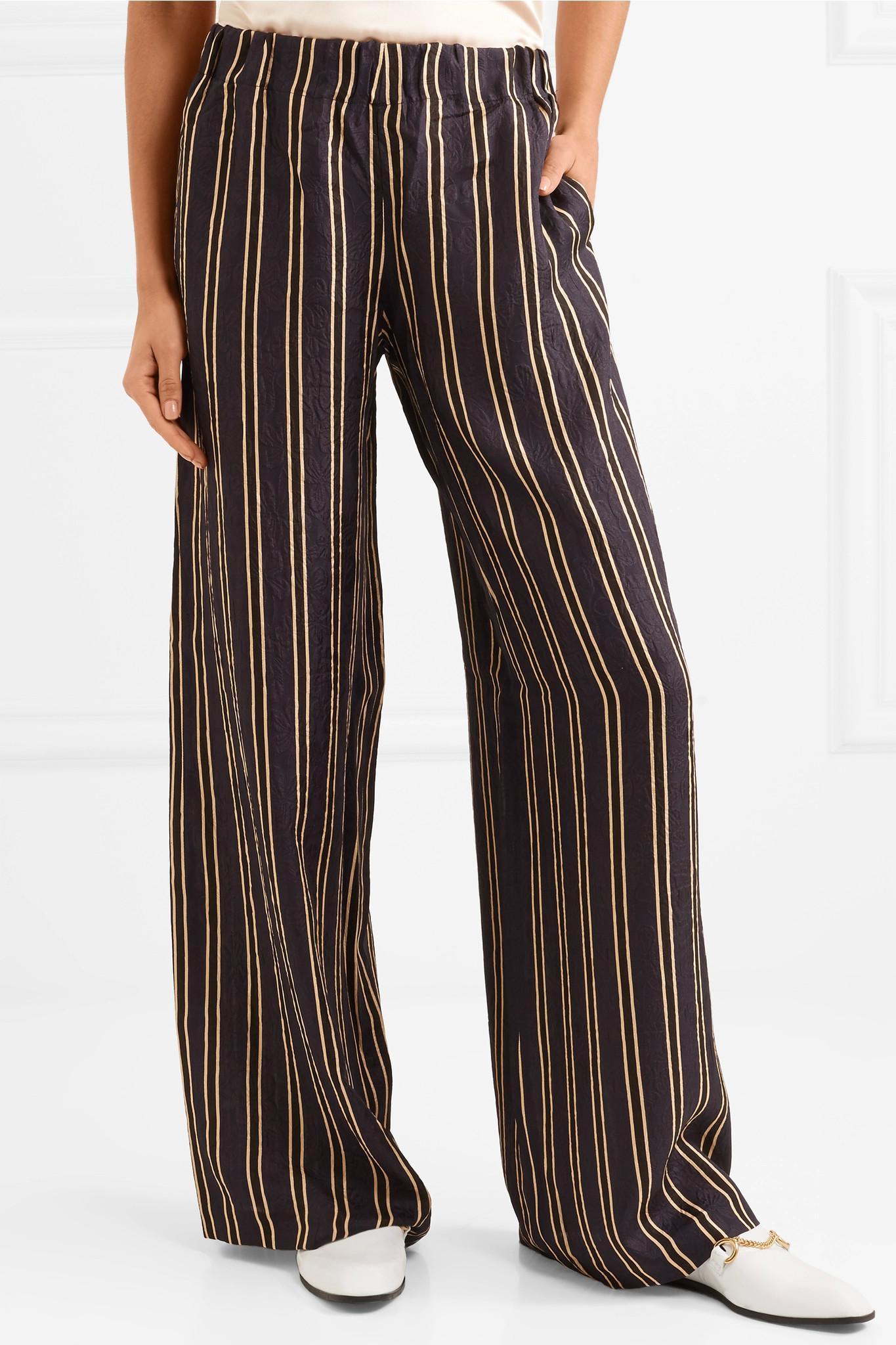 6c565f20e Paul & Joe Vertige Striped Crinkled-silk Crepe Wide-leg Pants in ...