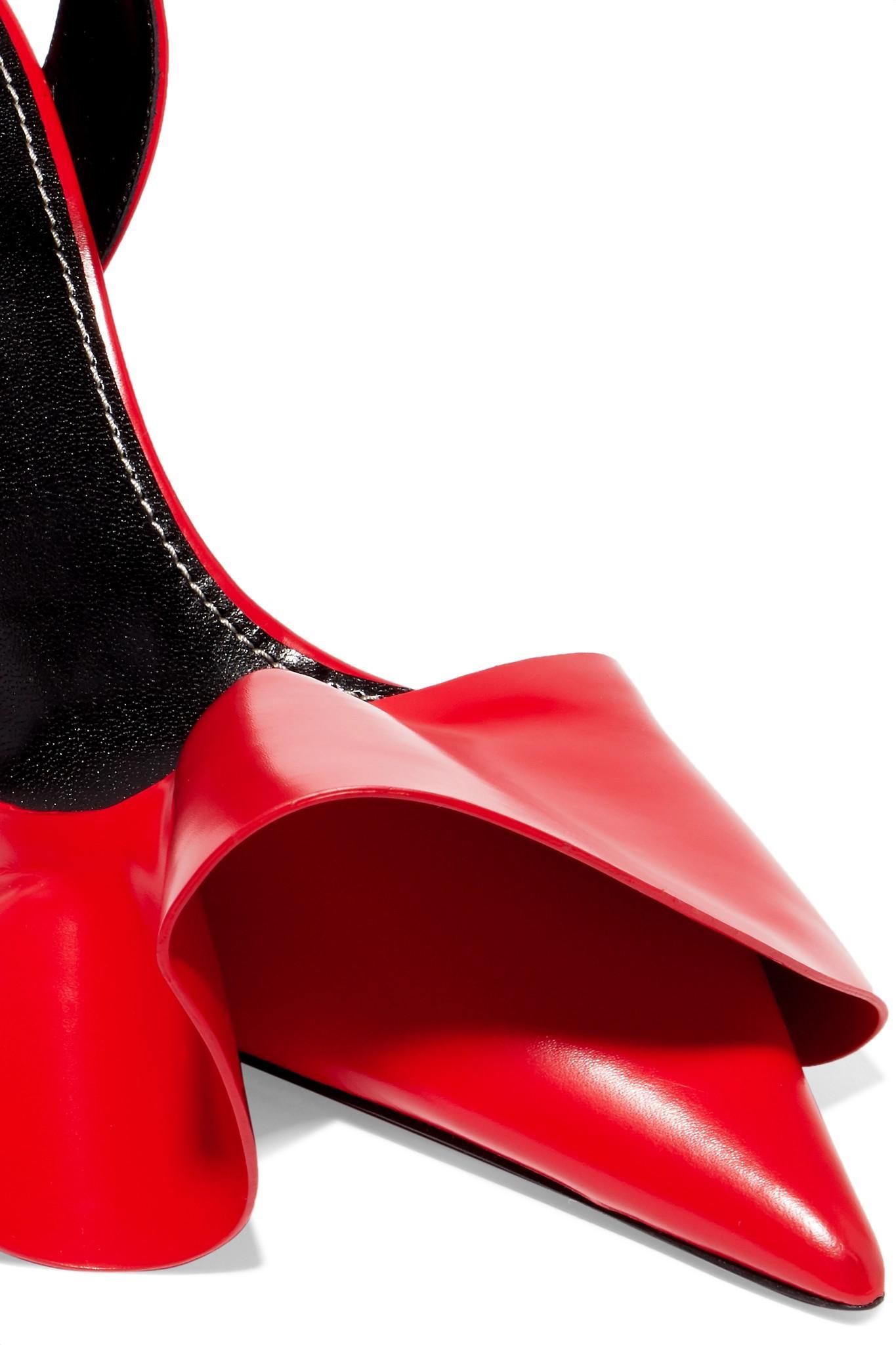 238cc8315e4 Proenza Schouler - Red Ruffled Glossed-leather Pumps - Lyst. View fullscreen