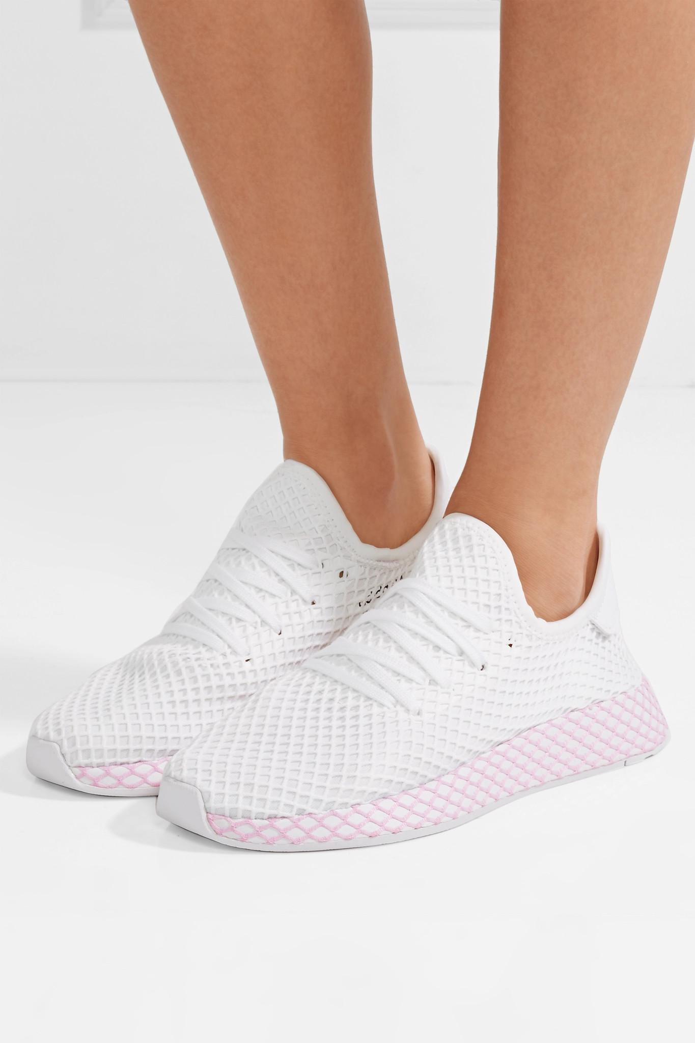 brand new 2d8a8 3fdc9 Adidas Originals - White Deerupt Runner Suede-trimmed Mesh Sneakers - Lyst.  View fullscreen