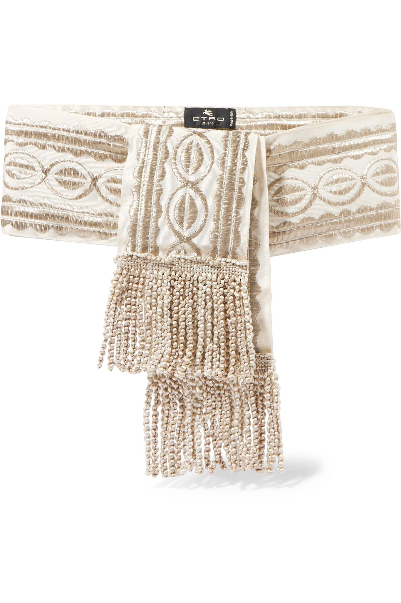 Fringed Metallic Embroidered Grosgrain Belt - Beige Etro GBQzcOes