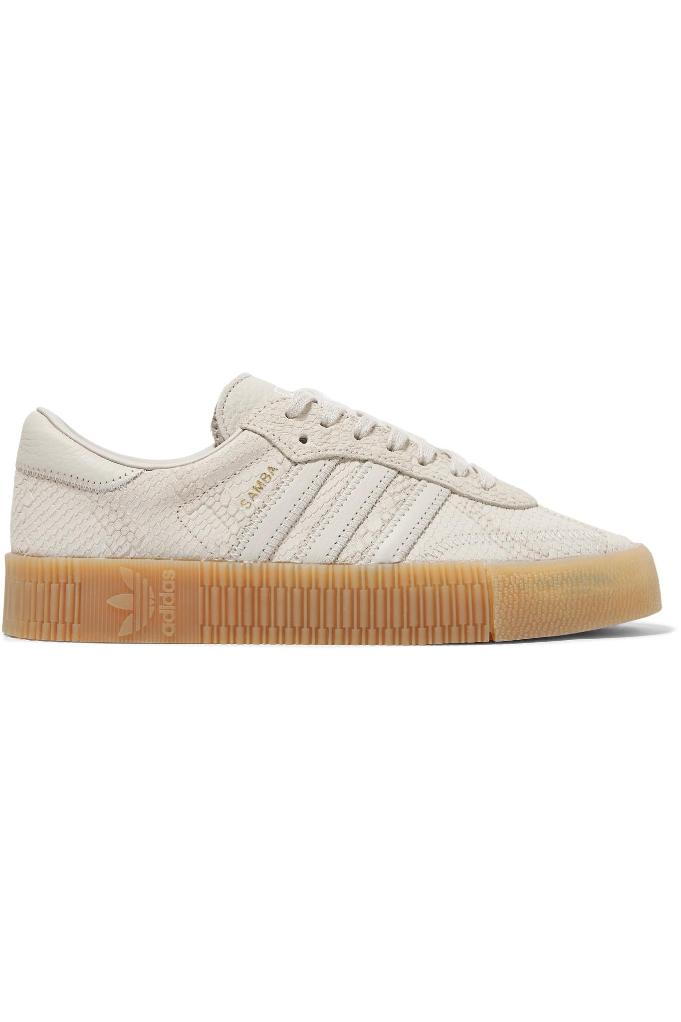 747bd40ca41 adidas Originals Samba Rose Snake-effect Suede And Leather Platform ...
