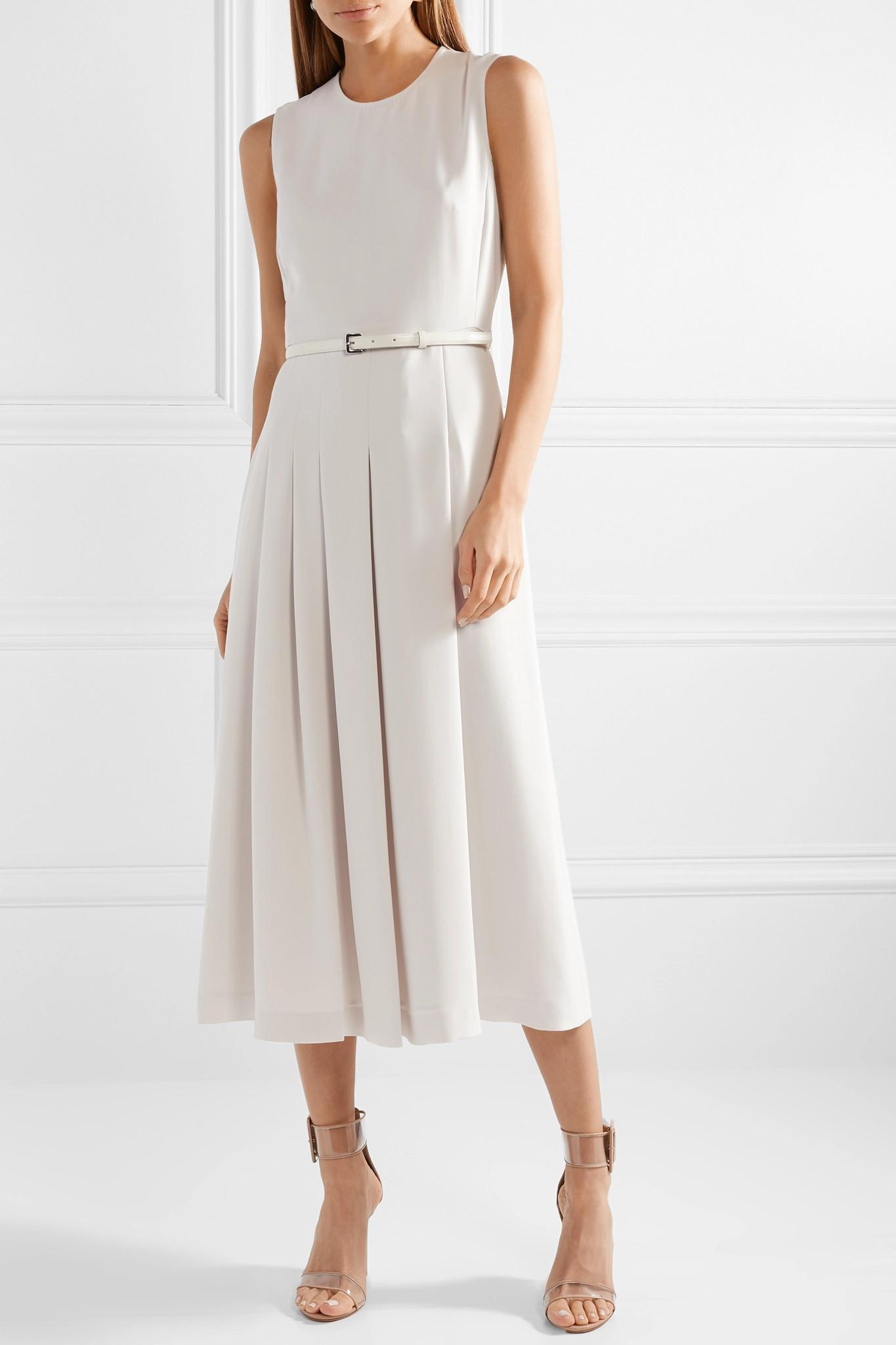 b36592151 Max Mara Belted Stretch-cady Midi Dress in White - Lyst