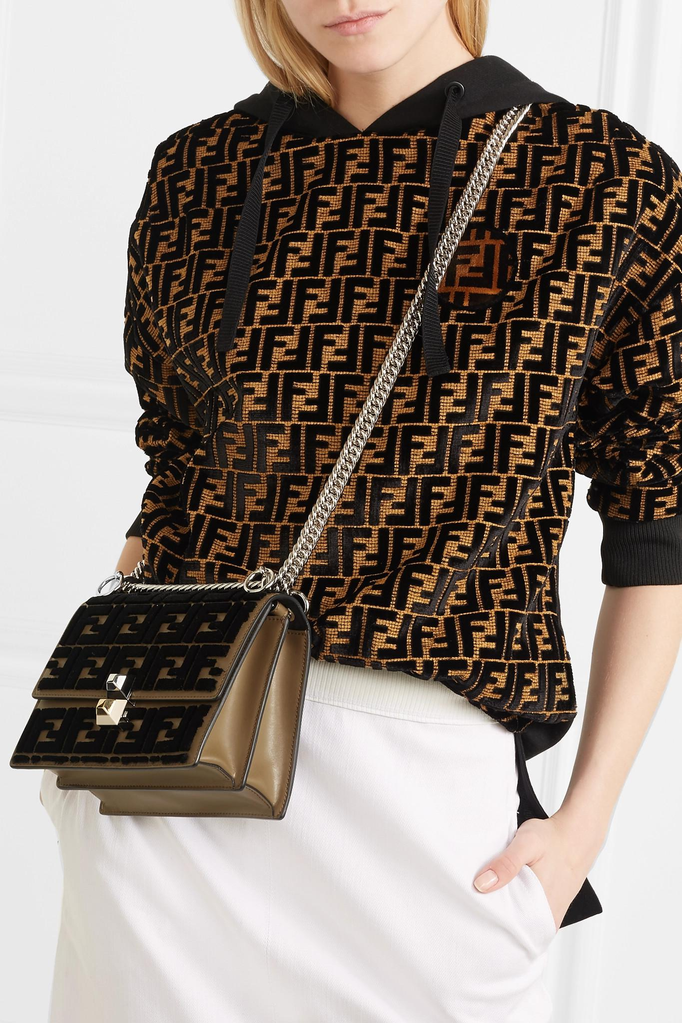 fd96742fc5 Fendi - Brown Kan I Small Flocked Leather Shoulder Bag - Lyst. View  fullscreen