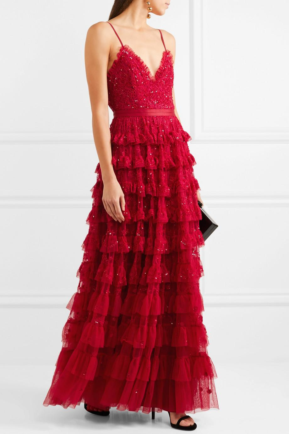 Lyst - Needle & Thread Marie Tiered Embellished Tulle Gown in Red ...