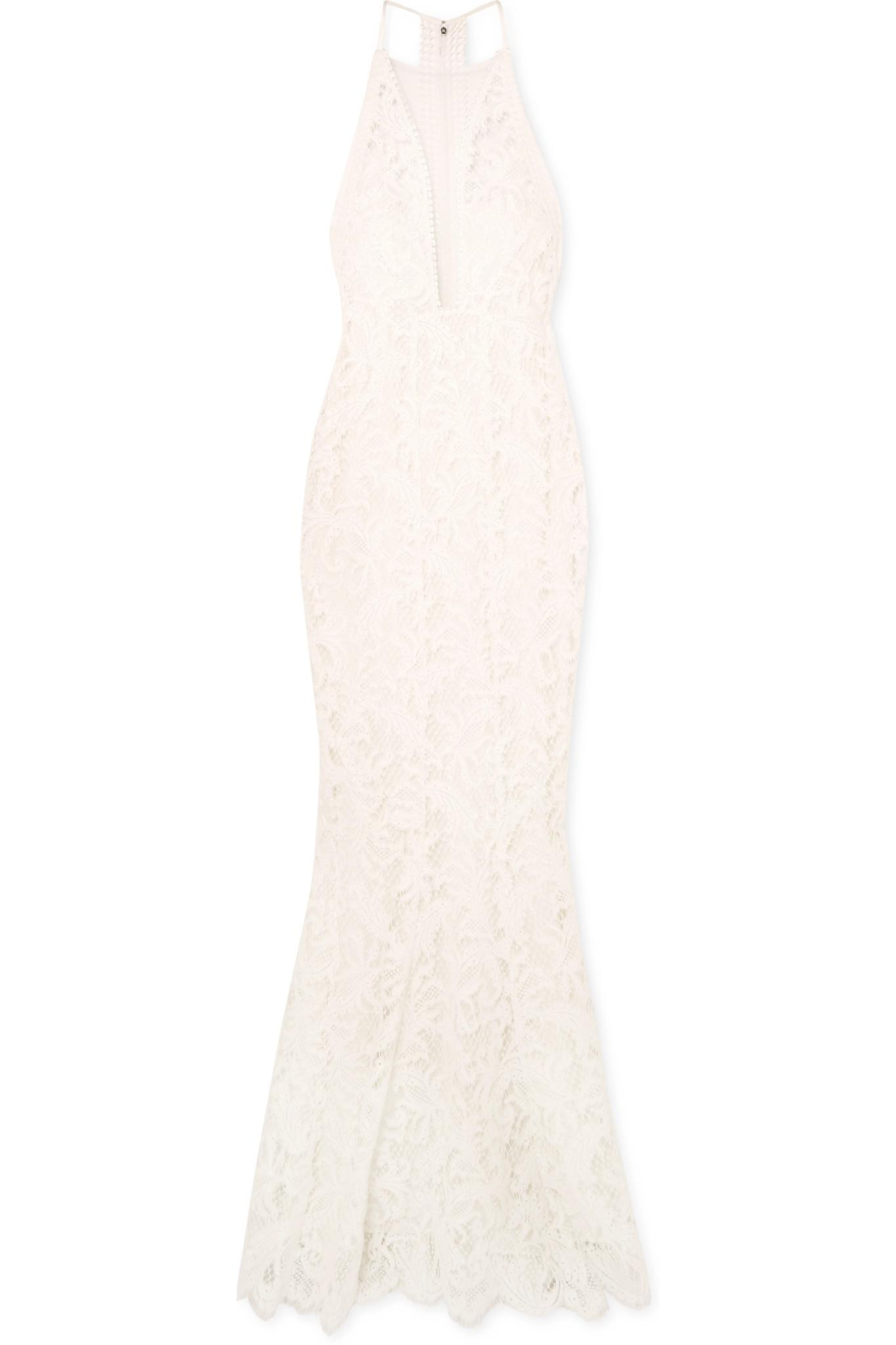 af3b6b064e9 Lyst - Galvan London Positano Tulle-paneled Lace Gown in White