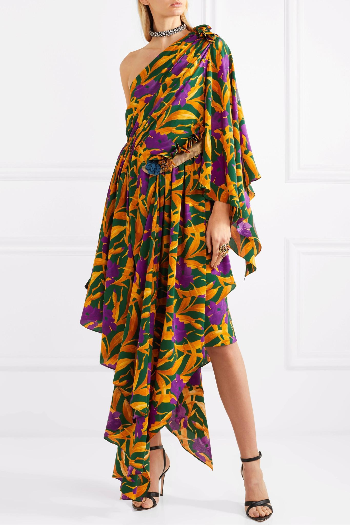 fe07b3cef9be2f Gucci - Yellow One-shoulder Appliquéd Printed Silk Crepe De Chine Dress -  Lyst. View fullscreen