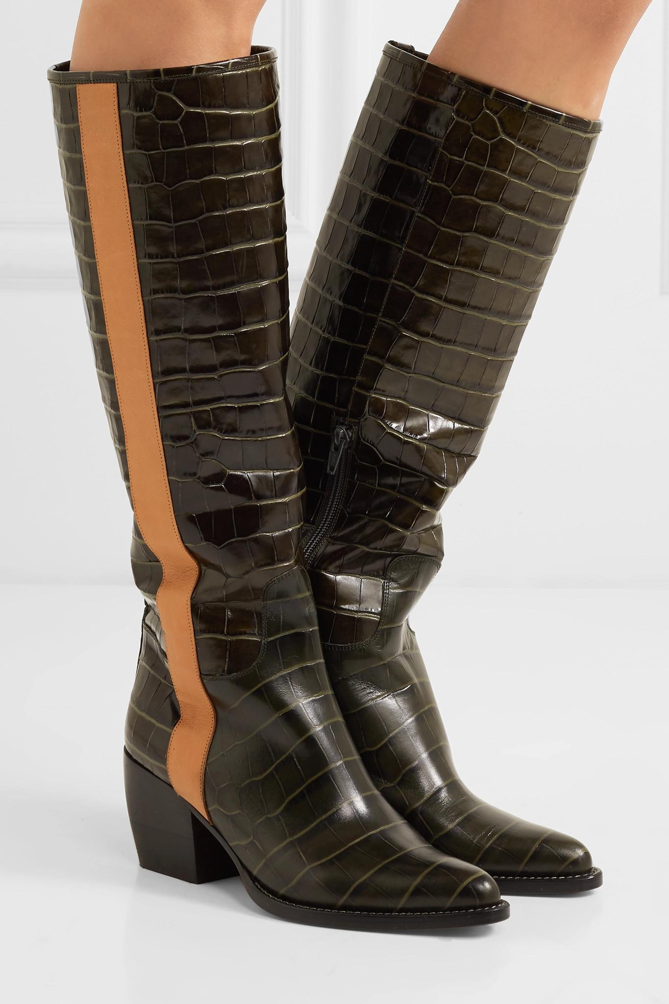 874b6af552e Lyst - Chloé Vinny Croc-effect Leather Knee Boots in Green