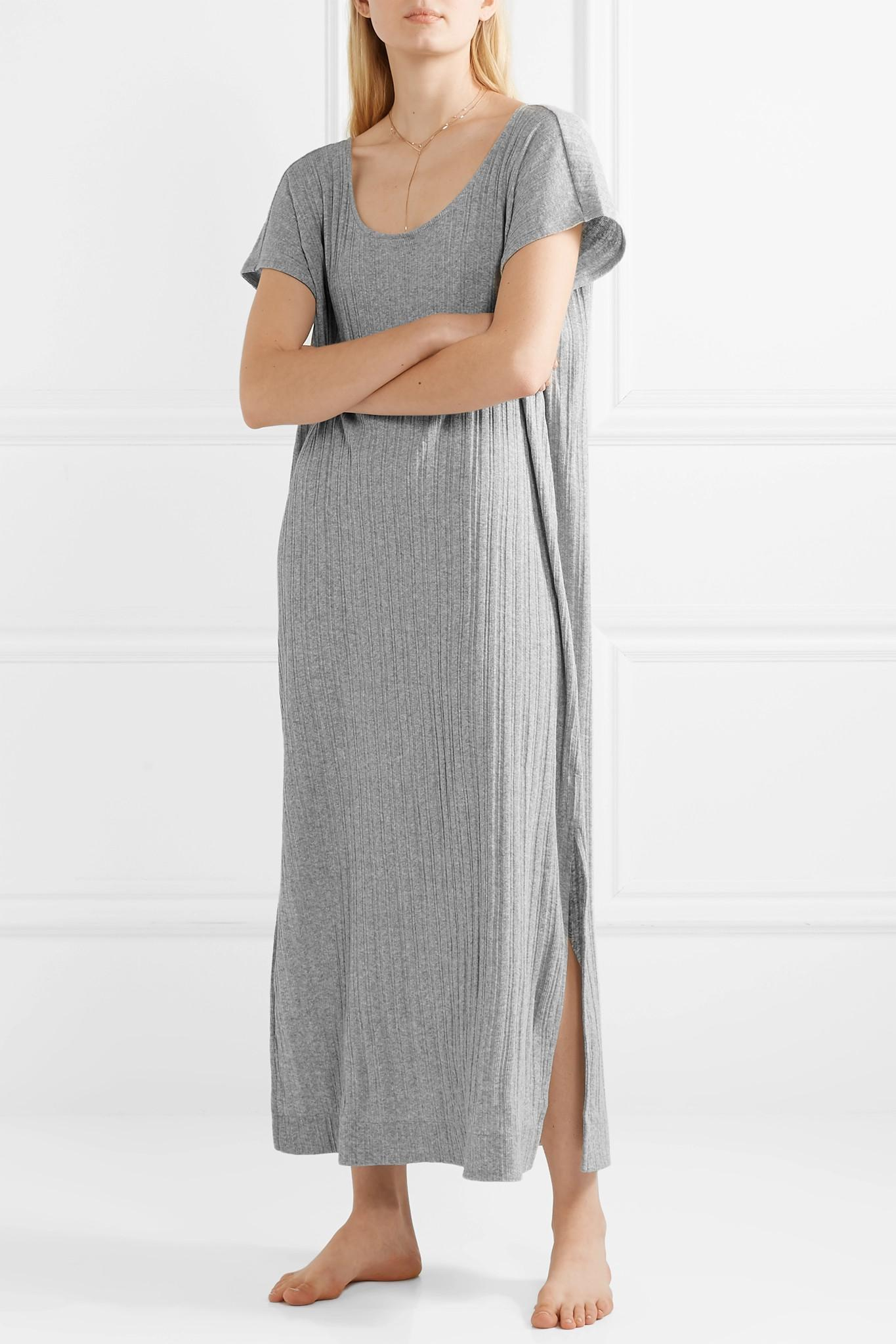 92af544fb9 Skin Rowena Ribbed Cotton-jersey Nightdress in Gray - Lyst