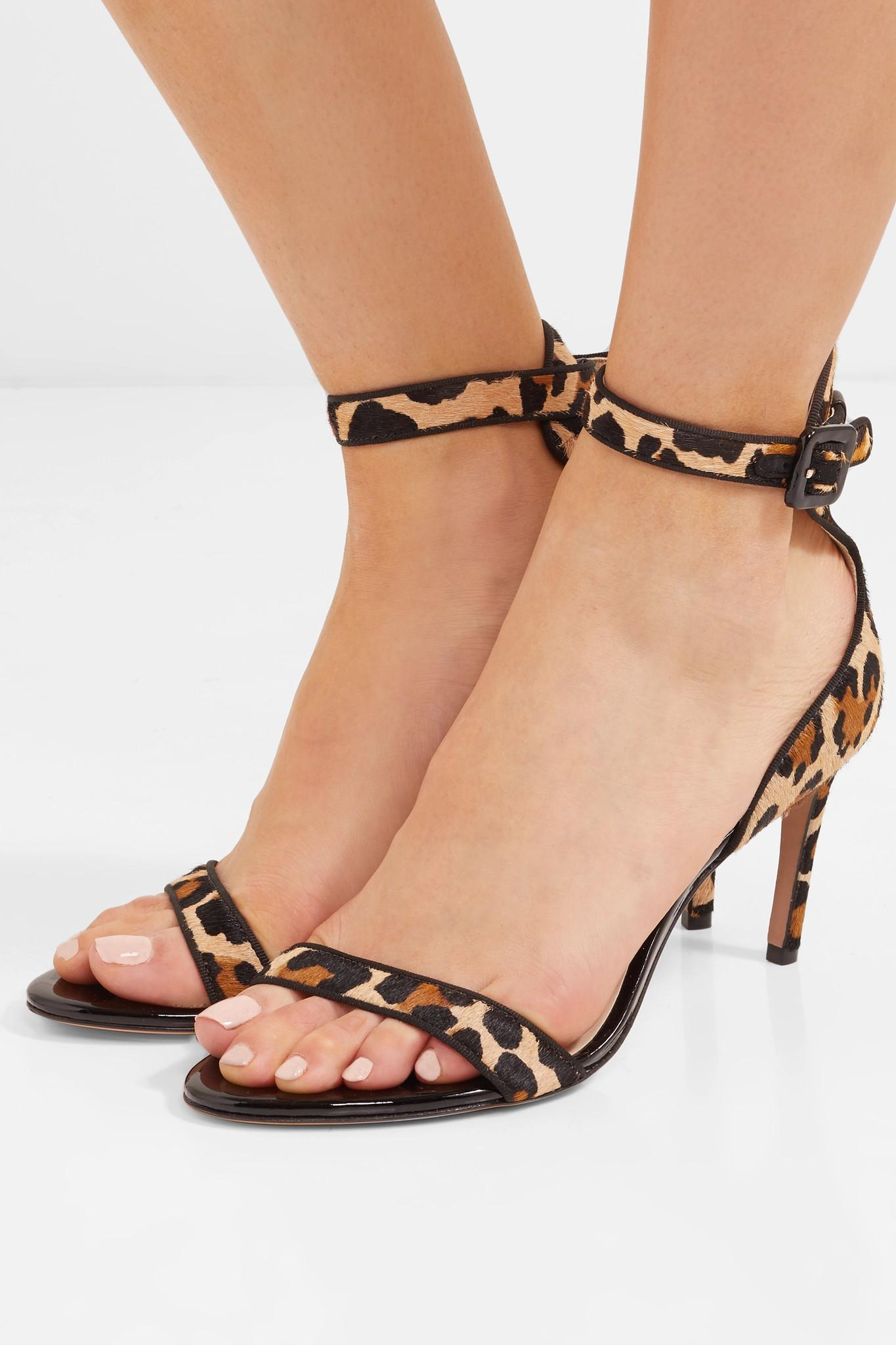 970d18db6 Lyst - Sophia Webster Nicole Leopard-print Calf Hair And Patent ...