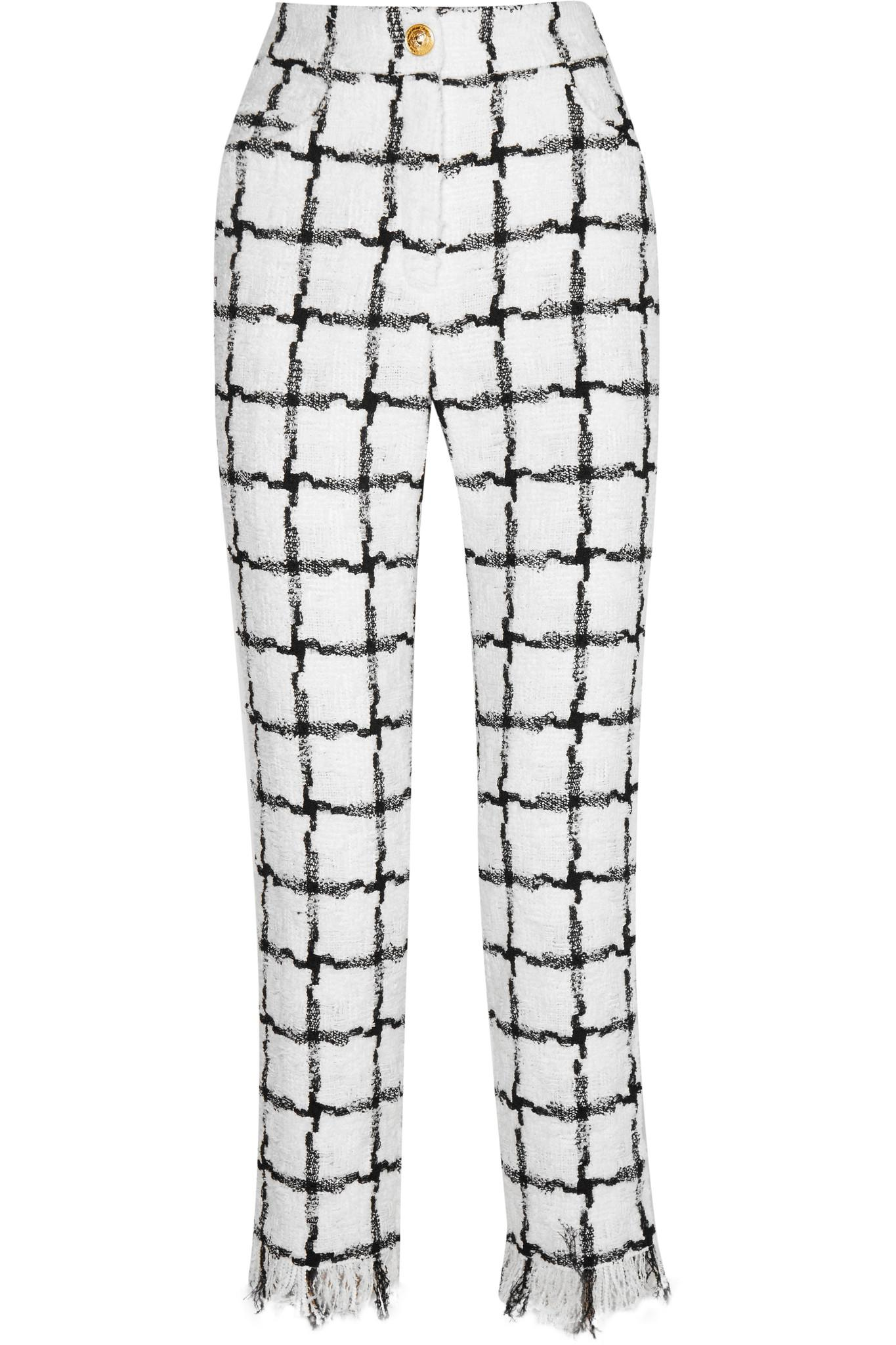 Buy Cheap Purchase Frayed Checked Tweed Straight-leg Pants - Black Balmain Visit New For Sale PZon0K6