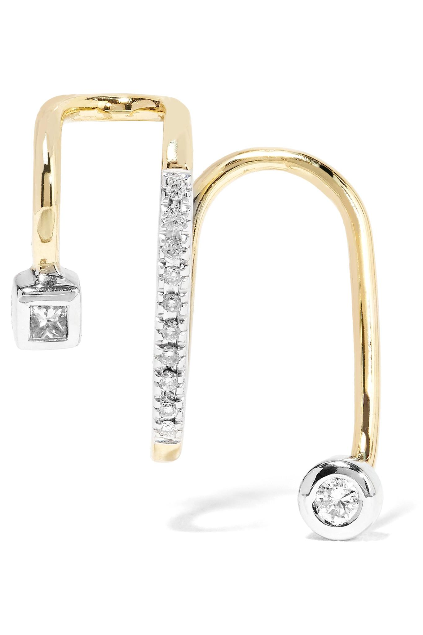 Maria Black Laurel Blanc 14-karat Gold, Rhodium-plated And Diamond Ear Cuff