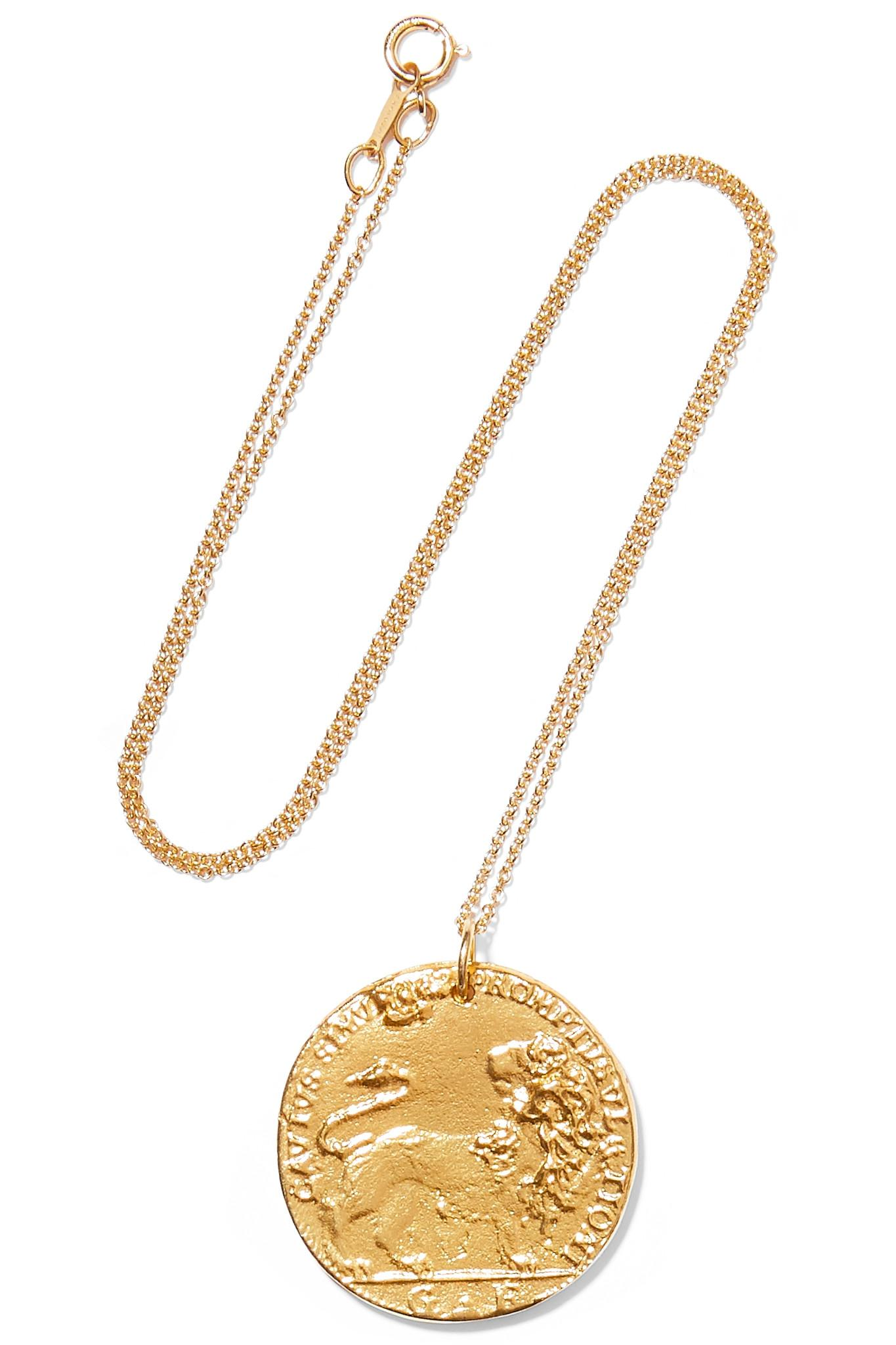 56d8edd5c4f26 Alighieri. Women s Metallic Il Leone Medallion Gold-plated Necklace ...