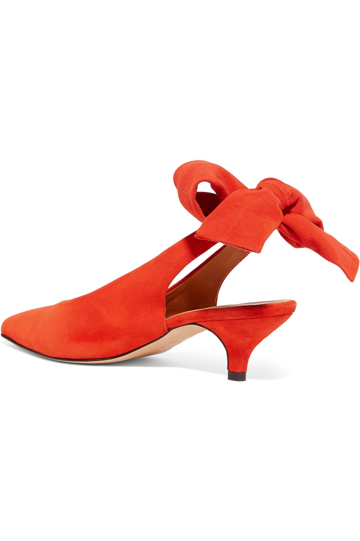 6b3a7879652 Lyst - Ganni Suede Slingback Pumps in Red