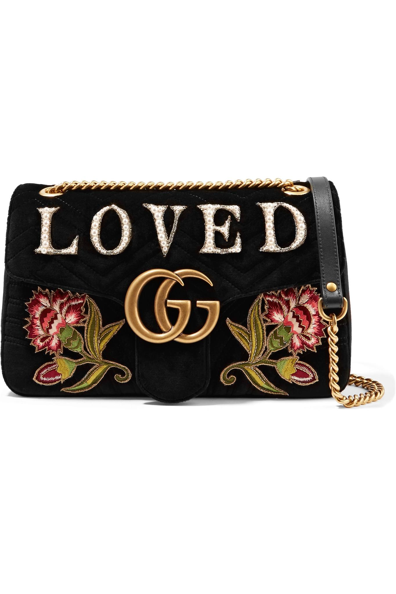 d44d2cff7edf Gucci. Women's Black Gg Marmont Medium Embroidered Matelassé Velvet  Shoulder Bag