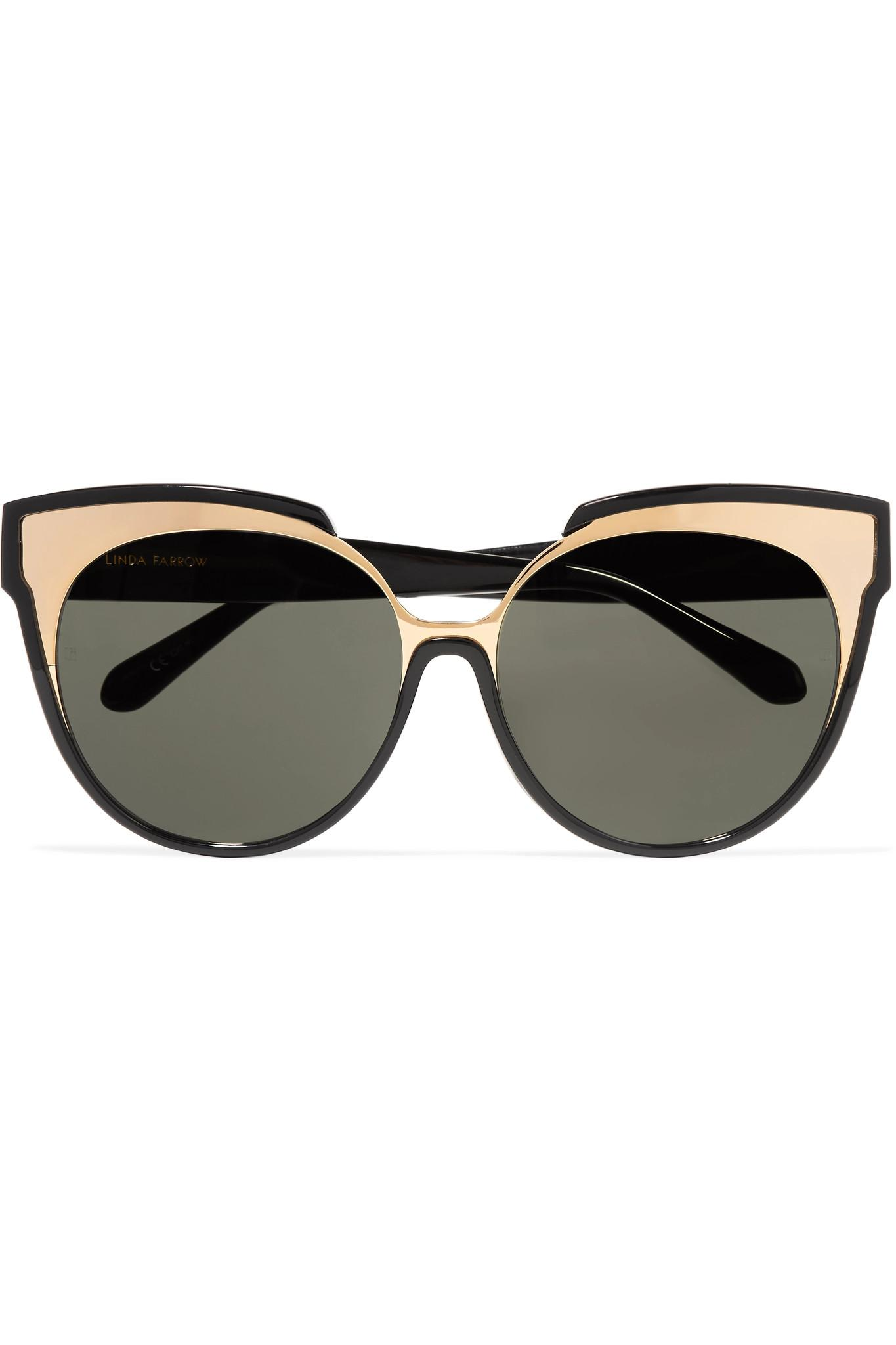 0912c4cdc904 ... Black Cat-eye Gold-tone And Acetate Sunglasses - Lyst. View fullscreen