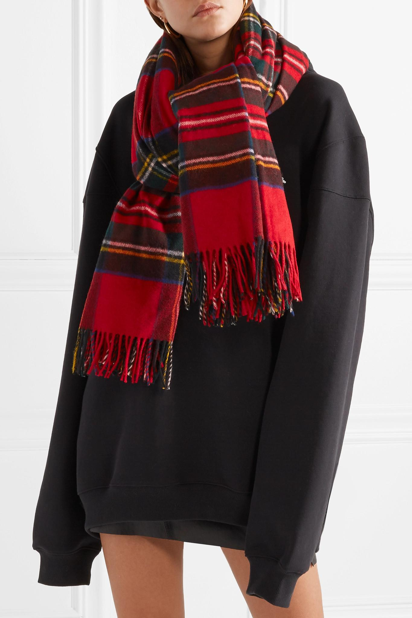 Fringed Tartan Merino Wool Scarf - Red We11done VDx40R85