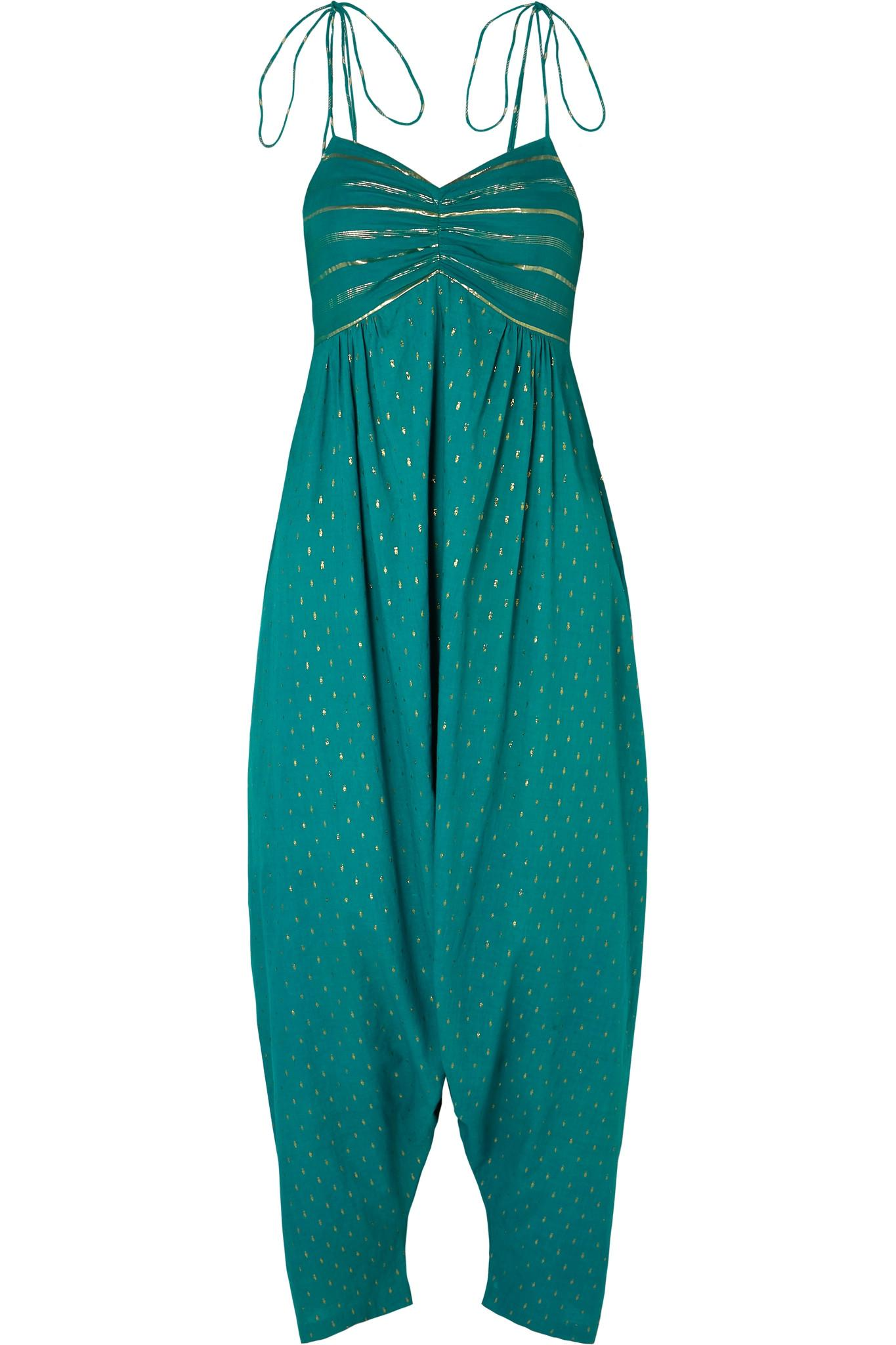 c7440b3ecc2c Miguelina. Women s Green Calla Tasseled Fil Coupé Cotton-blend Voile  Jumpsuit