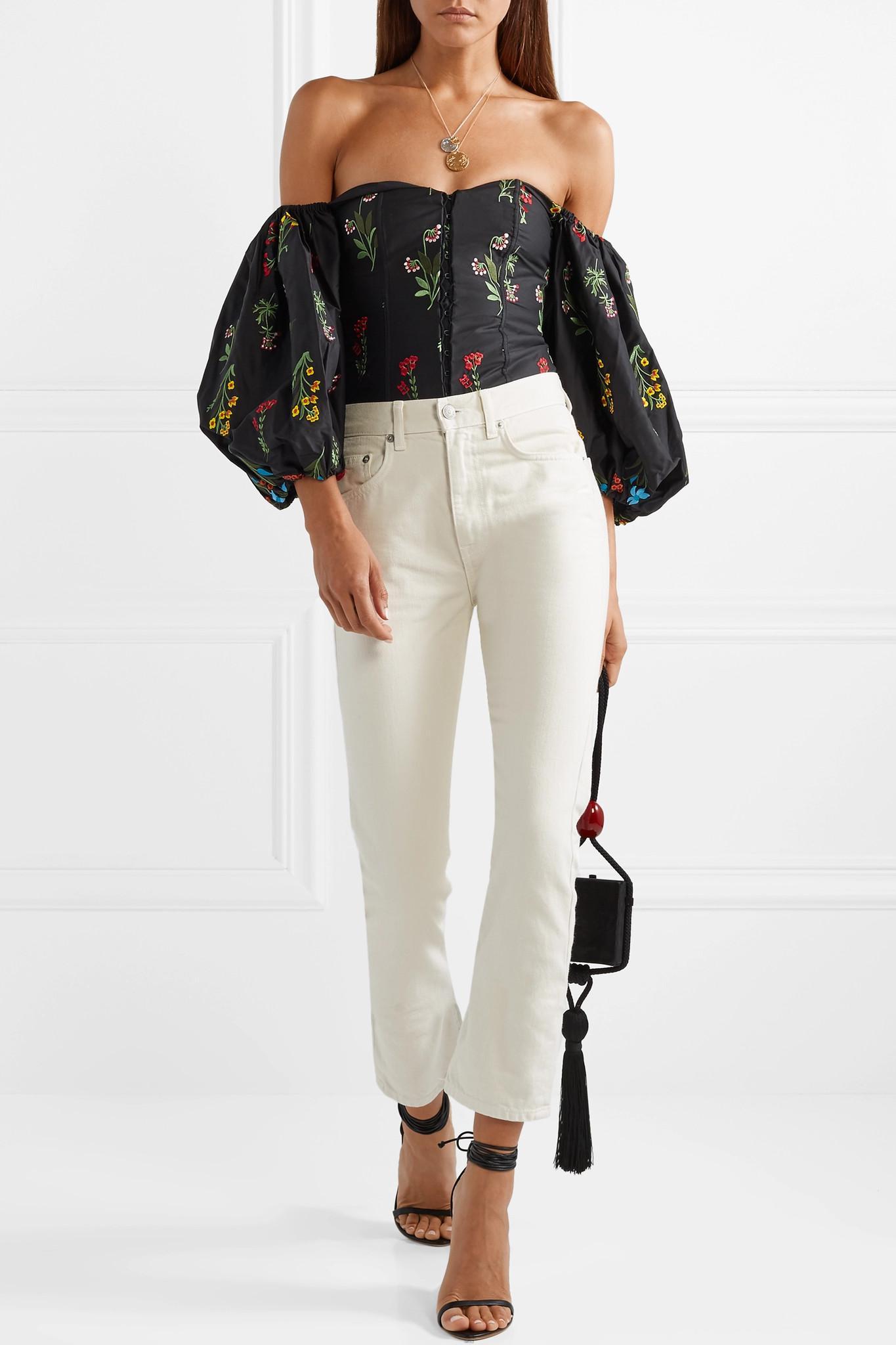 6fcf8a5beb79b Caroline Constas - Black Belen Off-the-shoulder Embroidered Poplin Blouse -  Lyst. View fullscreen