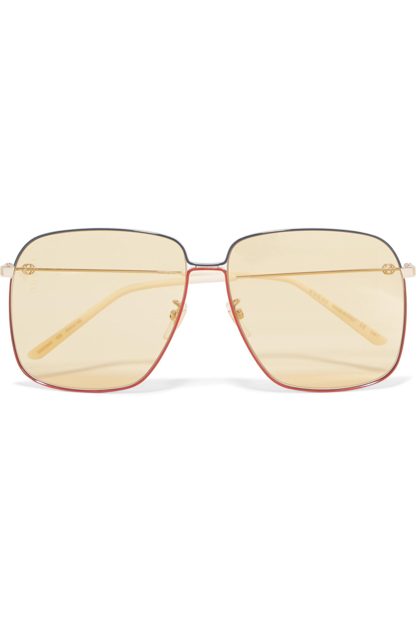 006354e2e63 Gucci. Women s Metallic Oversized Square-frame Gold-tone Sunglasses Gold One  Size