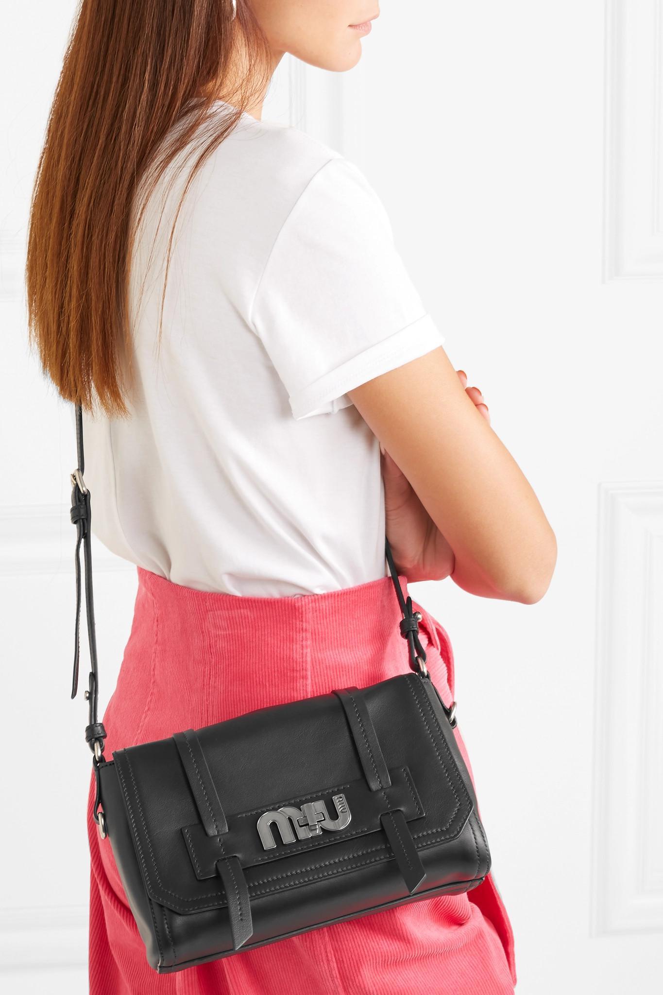 3c9cab91839d Miu Miu - Black Grace Leather Shoulder Bag - Lyst. View fullscreen