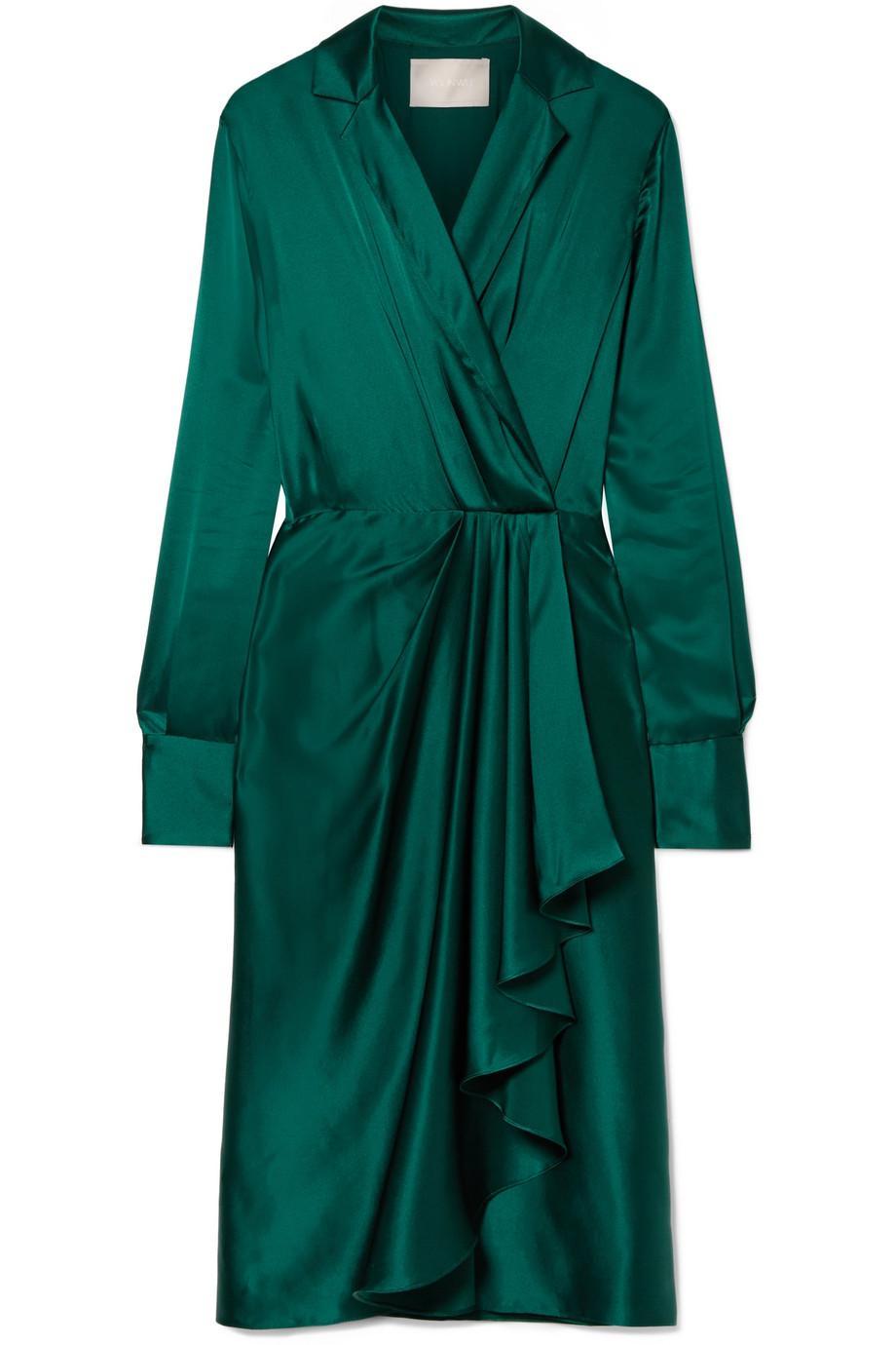 Wrap-effect Silk-charmeuse Dress - Emerald Jason Wu AT01N