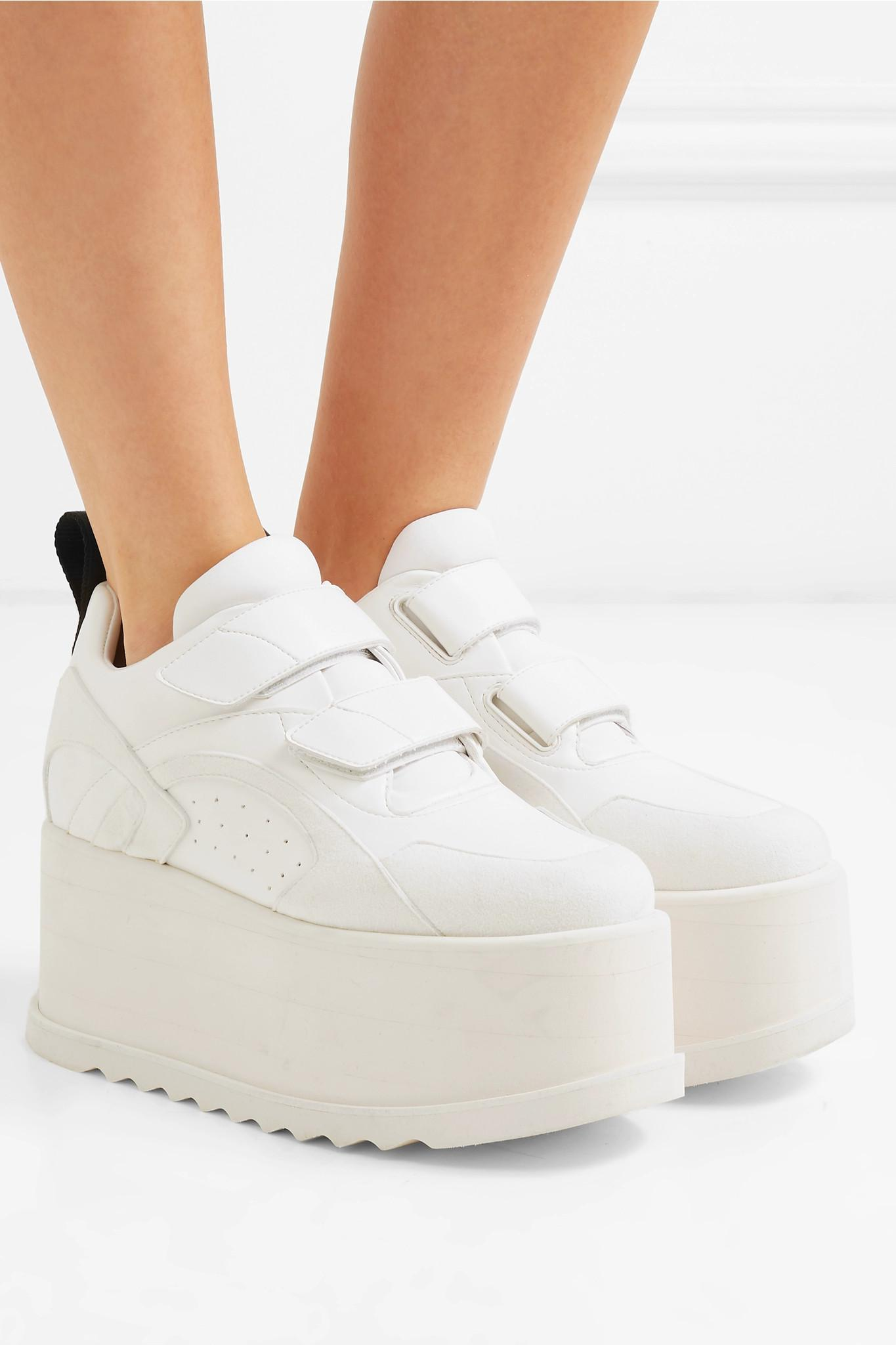 65c00361c0f ... Leather-trimmed Faux Suede Platform Sneakers - Lyst. View fullscreen