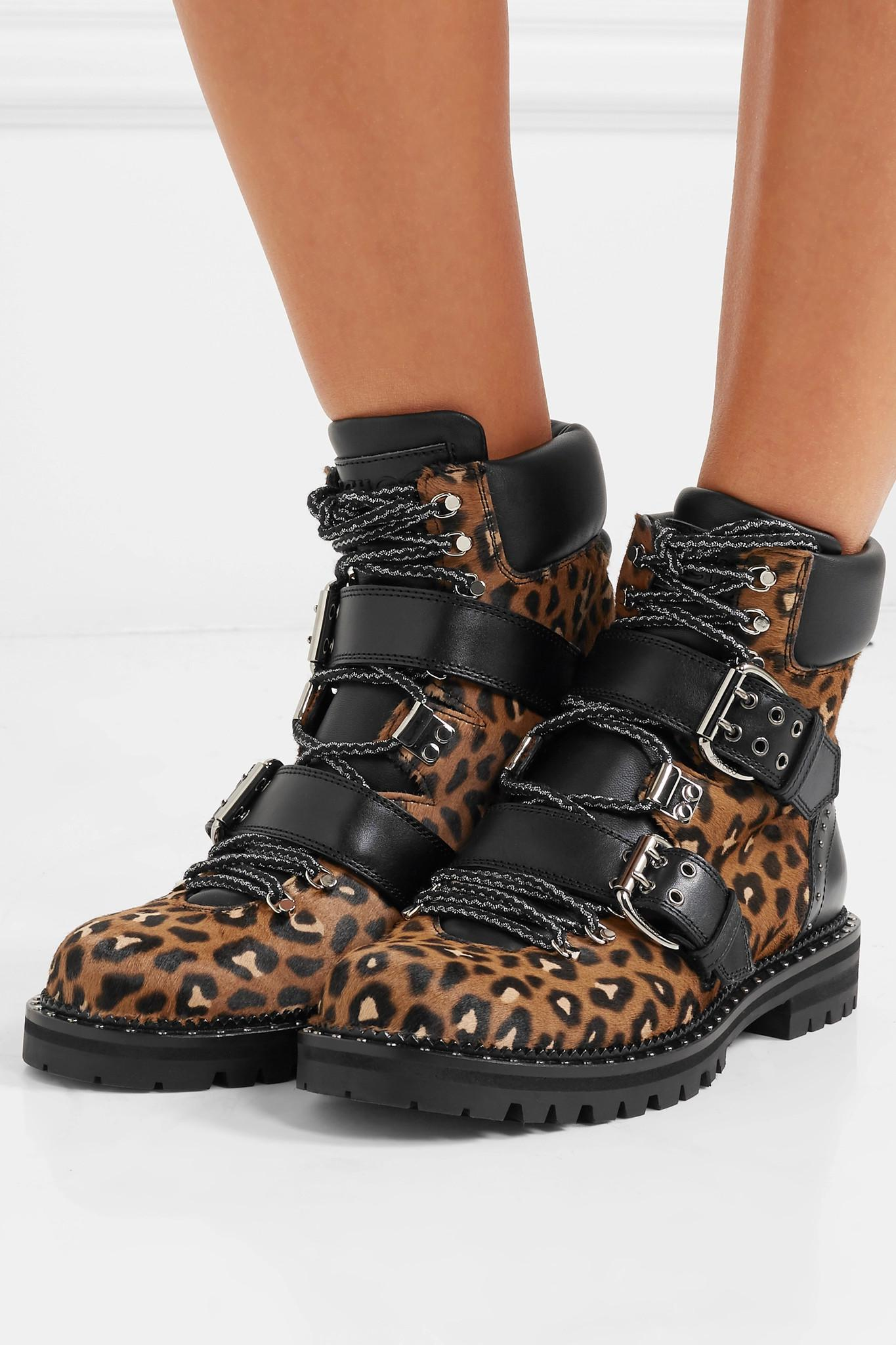 68cb6618b68e Lyst - Jimmy Choo Breeze Studded Leather-trimmed Leopard-print Calf ...