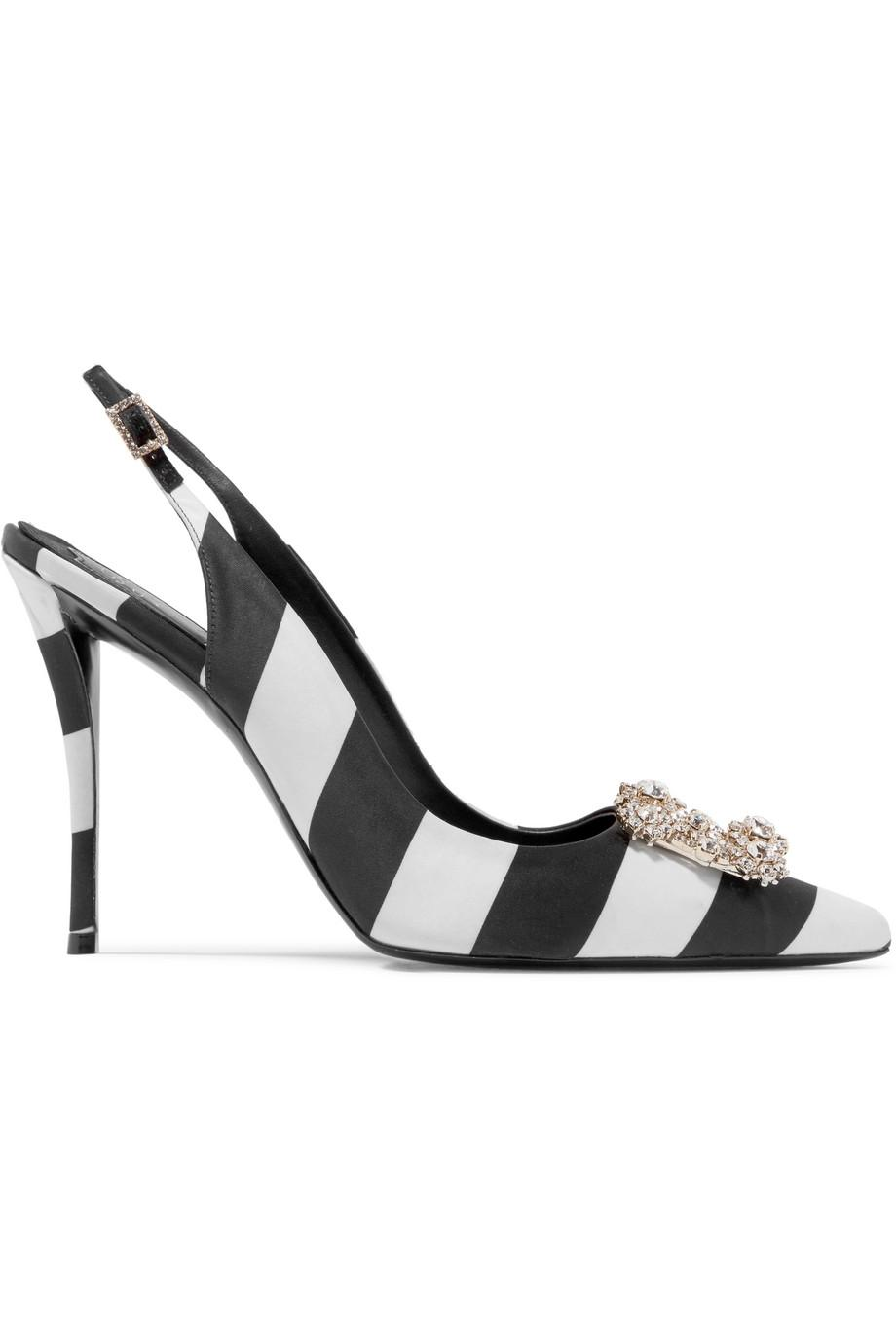 Crystal-embellished Satin Slingback Pumps - Black Roger Vivier 2FU0v9a