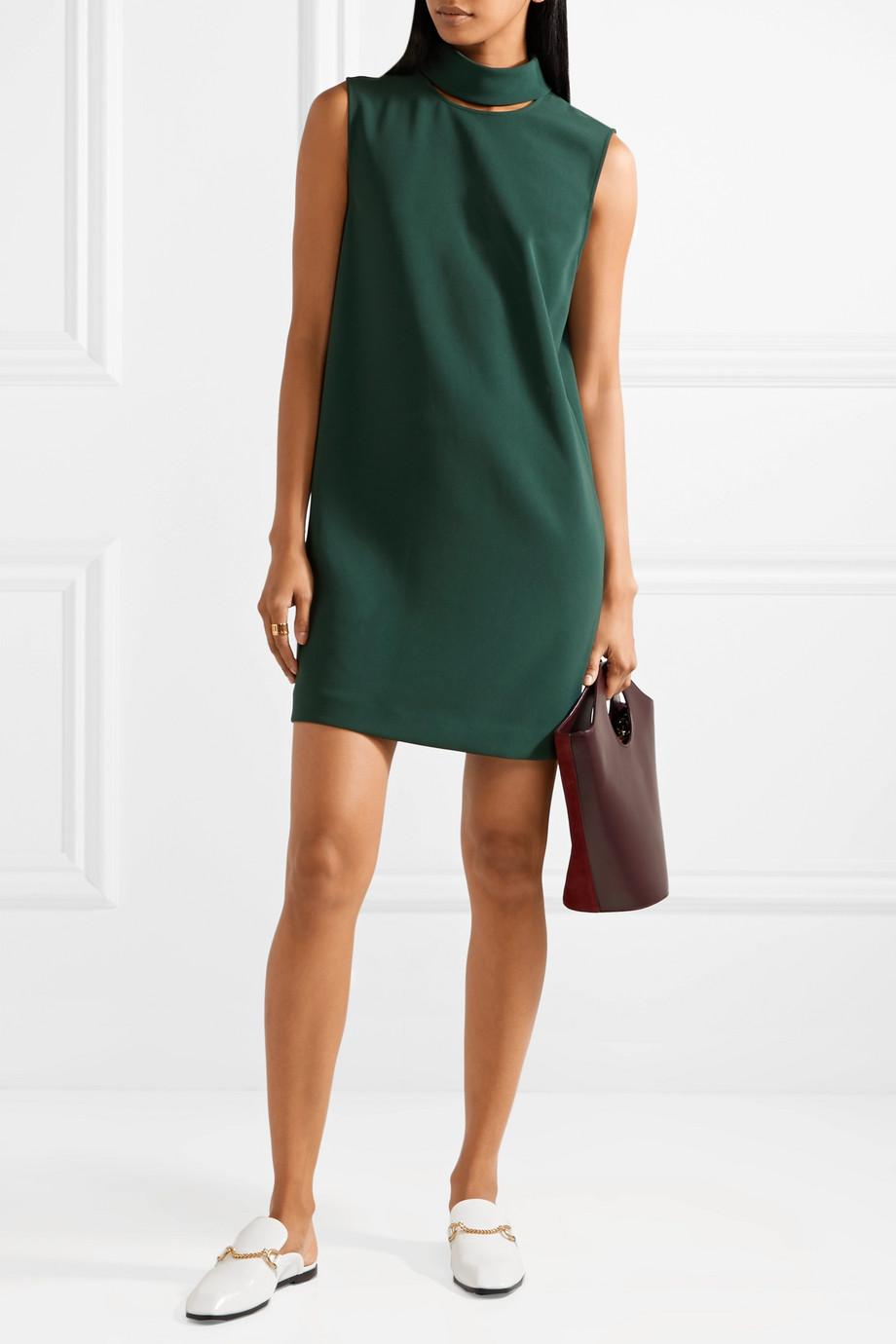 Cutout Crepe Mini Dress - Dark green Theory 2018 Newest Online Cheap New Styles Where To Buy Low Price MUSncGH