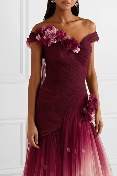 cb880063 Marchesa Off-the-shoulder Appliquéd Ombré Tulle Gown in Red - Lyst