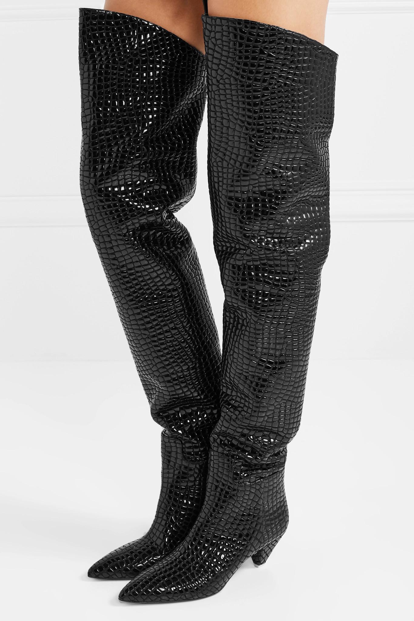 209c4e208c9 Attico - Black Asia Croc-effect Leather Over-the-knee Boots - Lyst. View  fullscreen