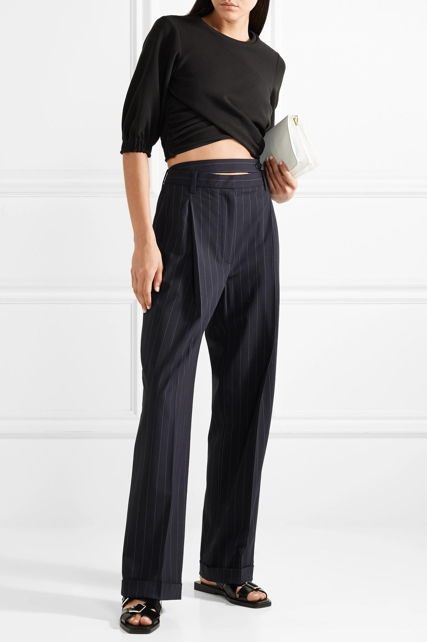Belted Cutout Pinstriped Wool-blend Pants - Midnight blue 3.1 Phillip Lim
