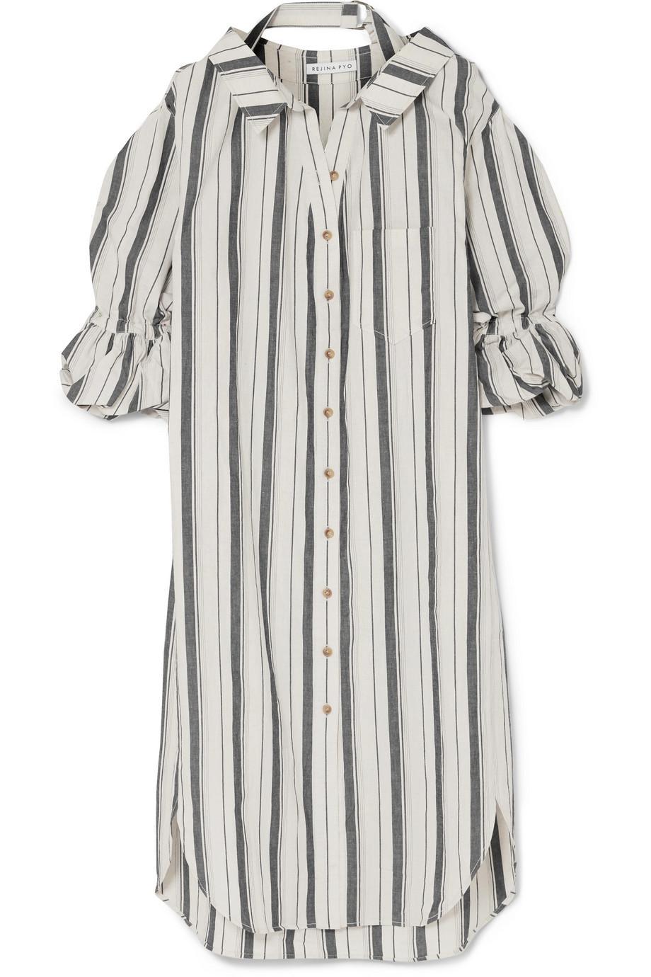 Outlet Excellent Amber Striped Cotton And Linen-blend Shirt Dress - Blue Rejina Pyo Super T5cUfvWn