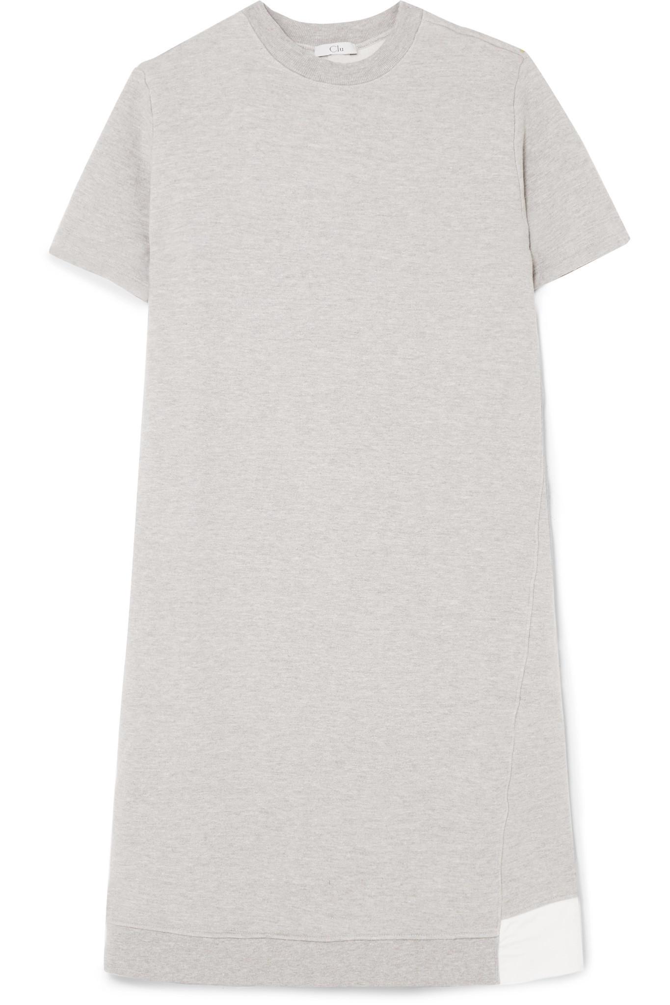Clu Woman Mesh-paneled Cotton-terry Dress Gray Size S Clu jw9AN
