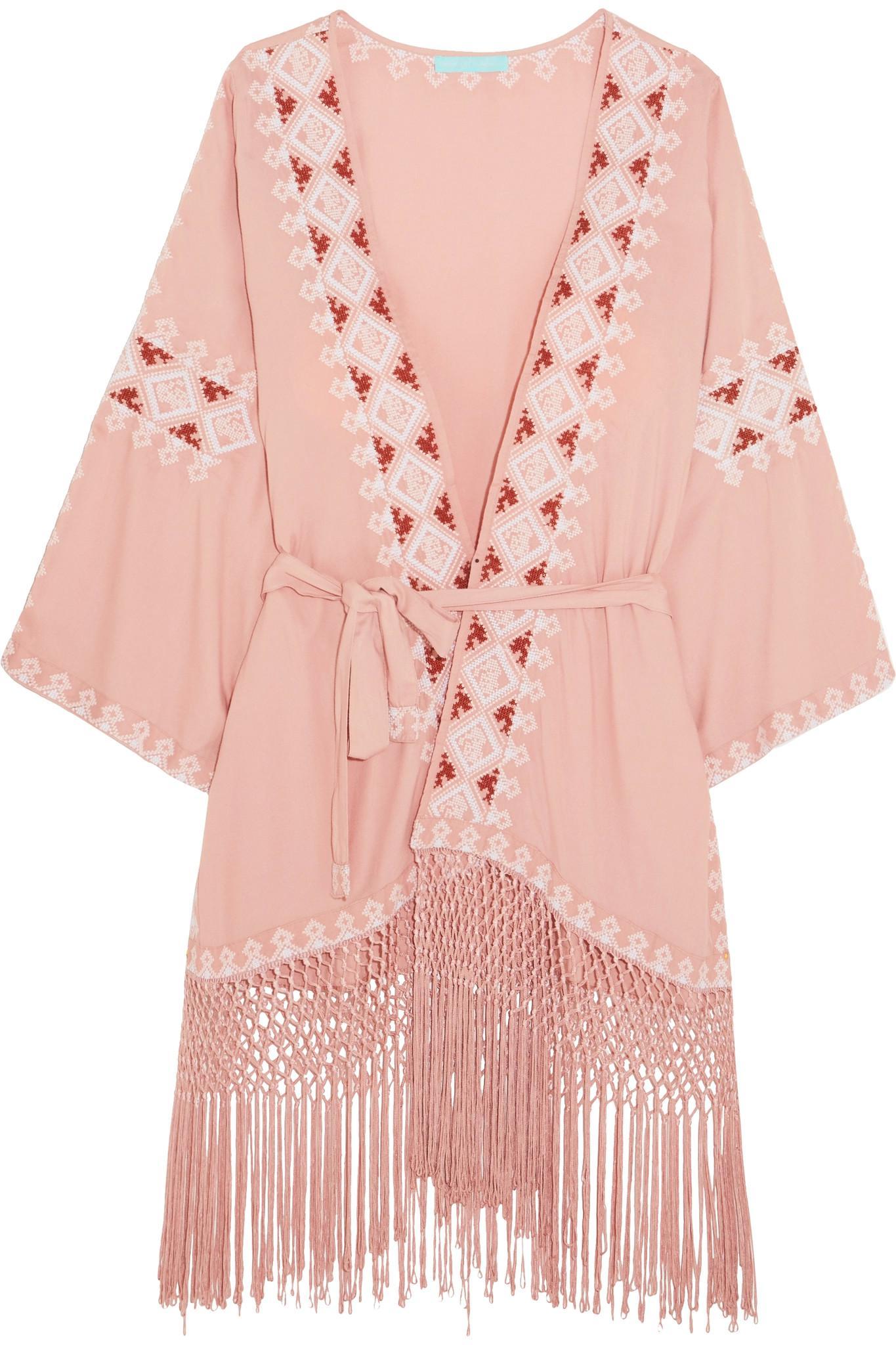 Melissa Odabash Woman Lace-up Fringed Cotton Coverup White Size L Melissa Odabash Ewqmli