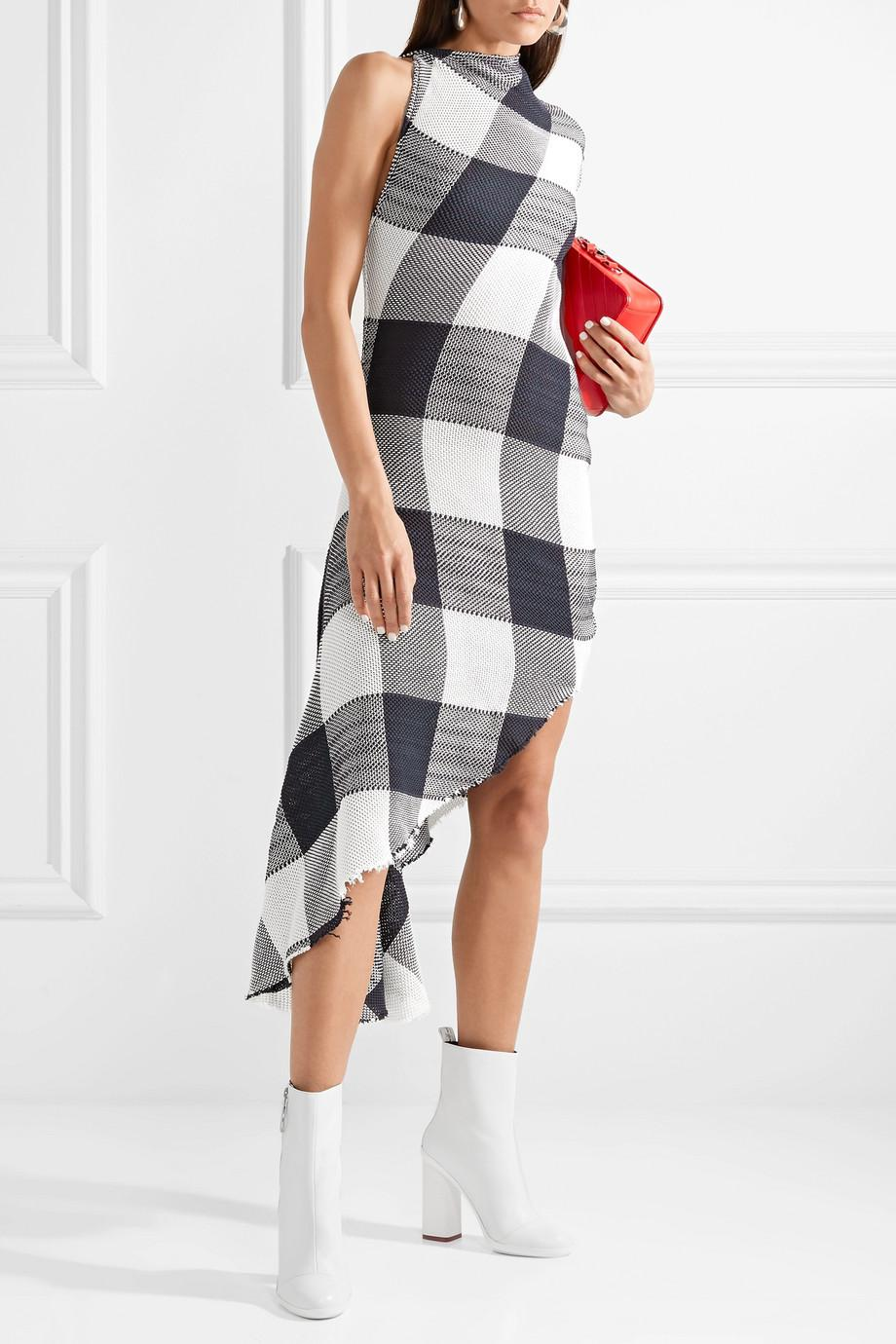 Asymmetric Gingham Cotton Dress - Black Marques Almeida Sneakernews Sale Online Online Cheap myetkt