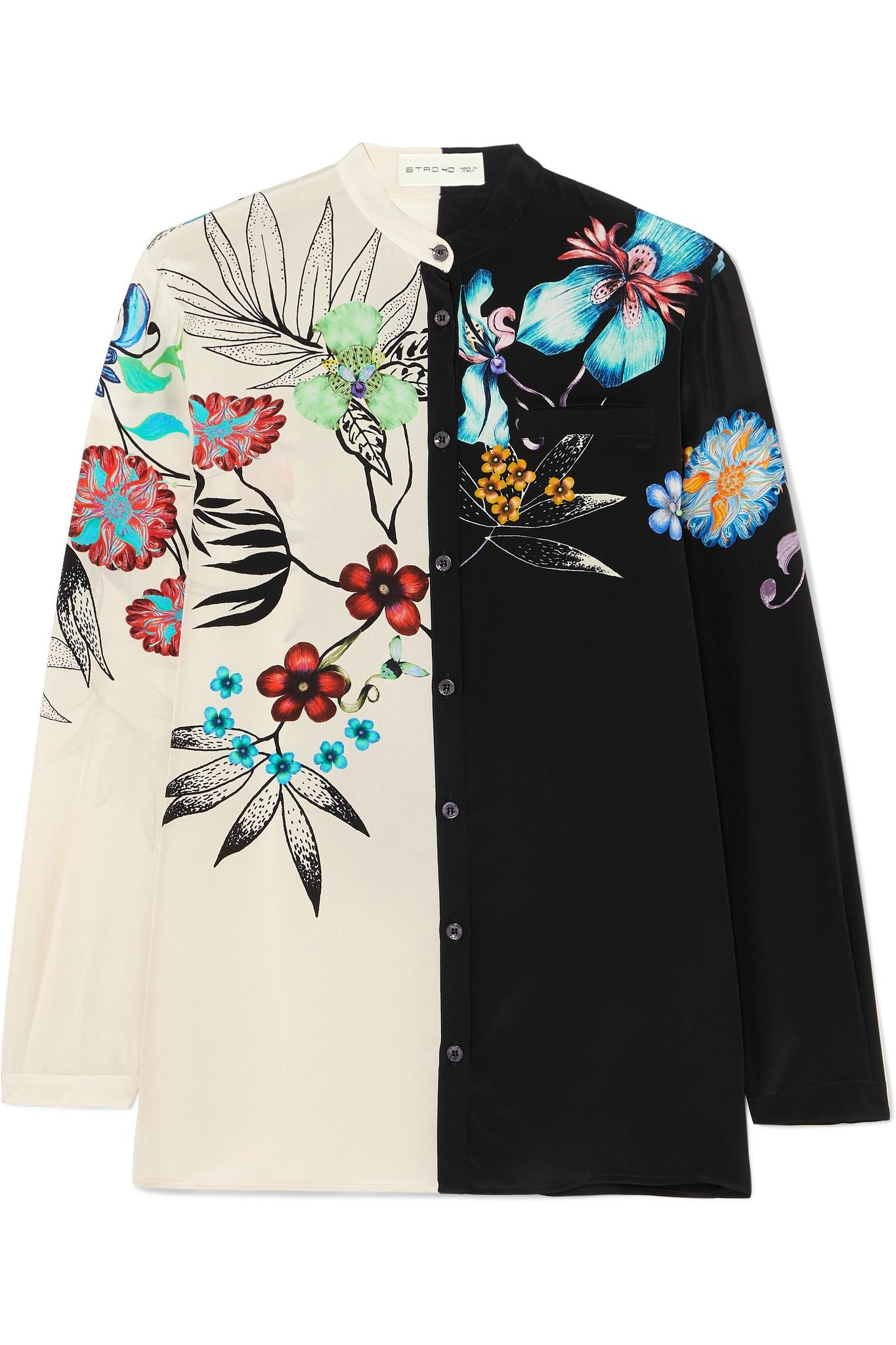 d6f6c9564530f Lyst - Etro Floral-print Silk Shirt in Black - Save 30%