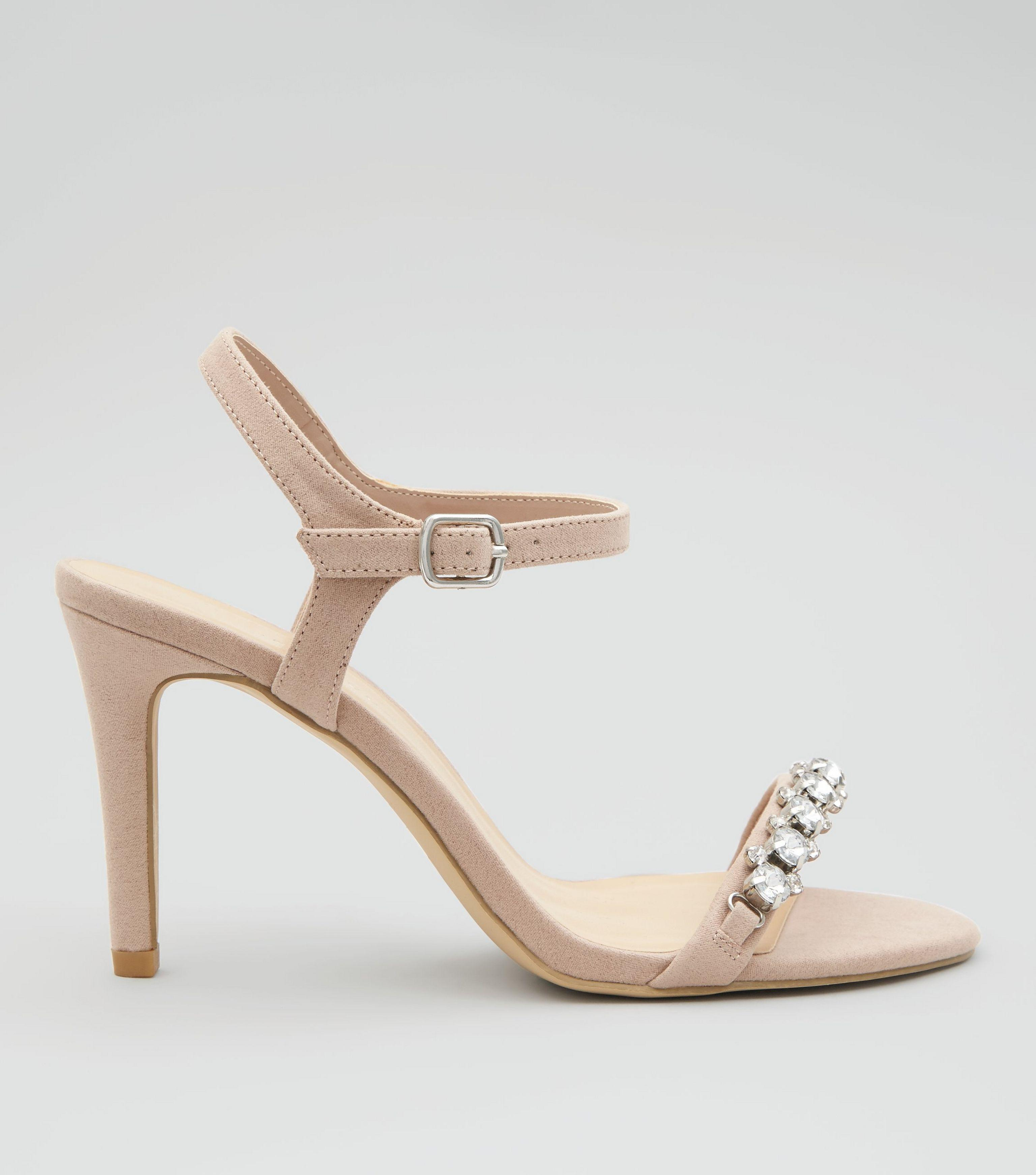 adeef3be3 New Look Wide Fit Nude Pink Gem Stone Strap Heeled Sandals in ...